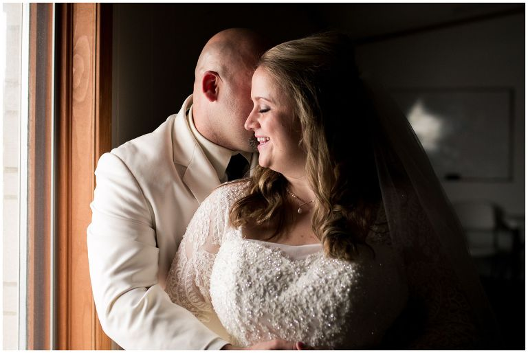 bride and groom during portraits after Muncie Indiana wedding