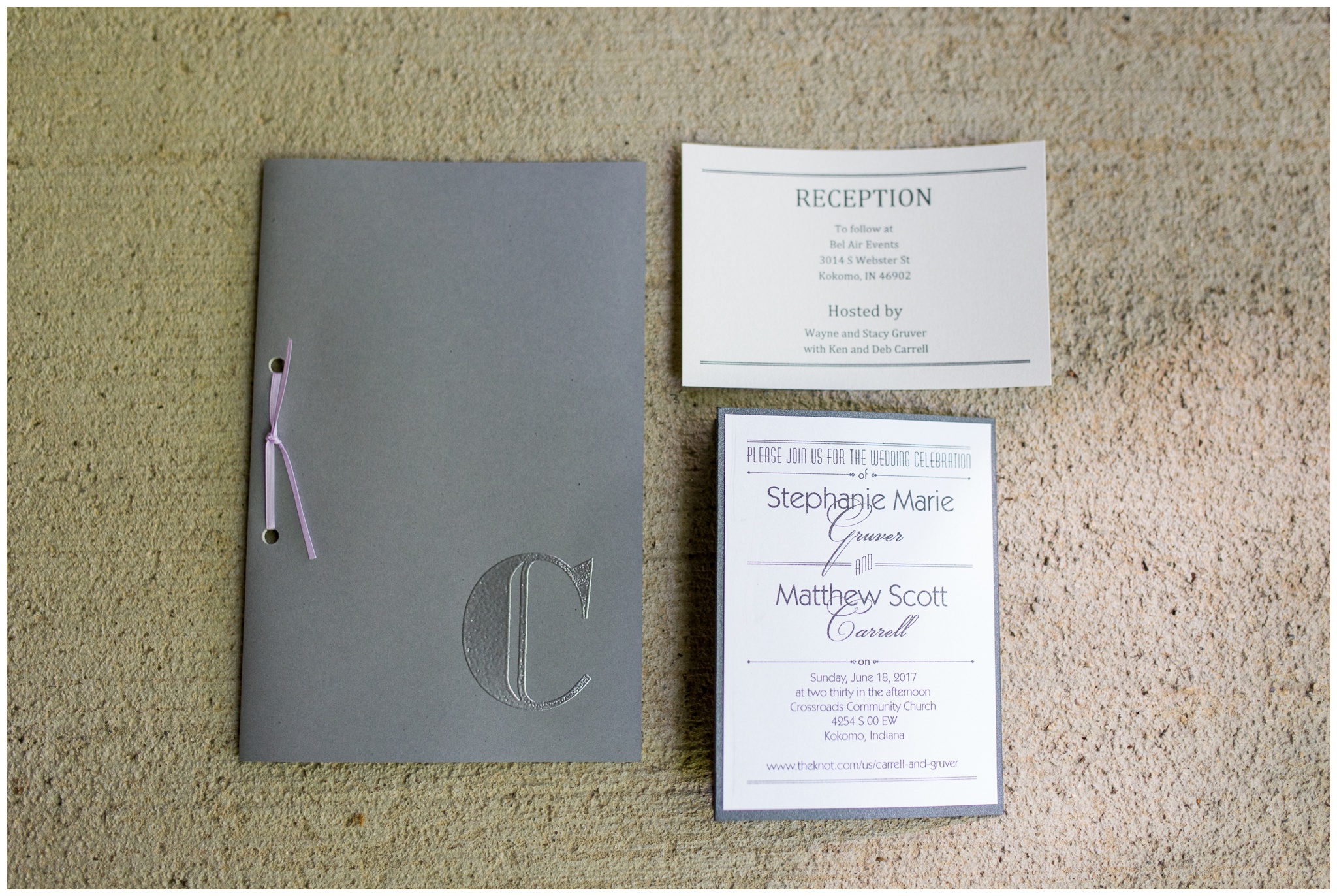 invitation and program detail photos for Kokomo Indiana Wedding