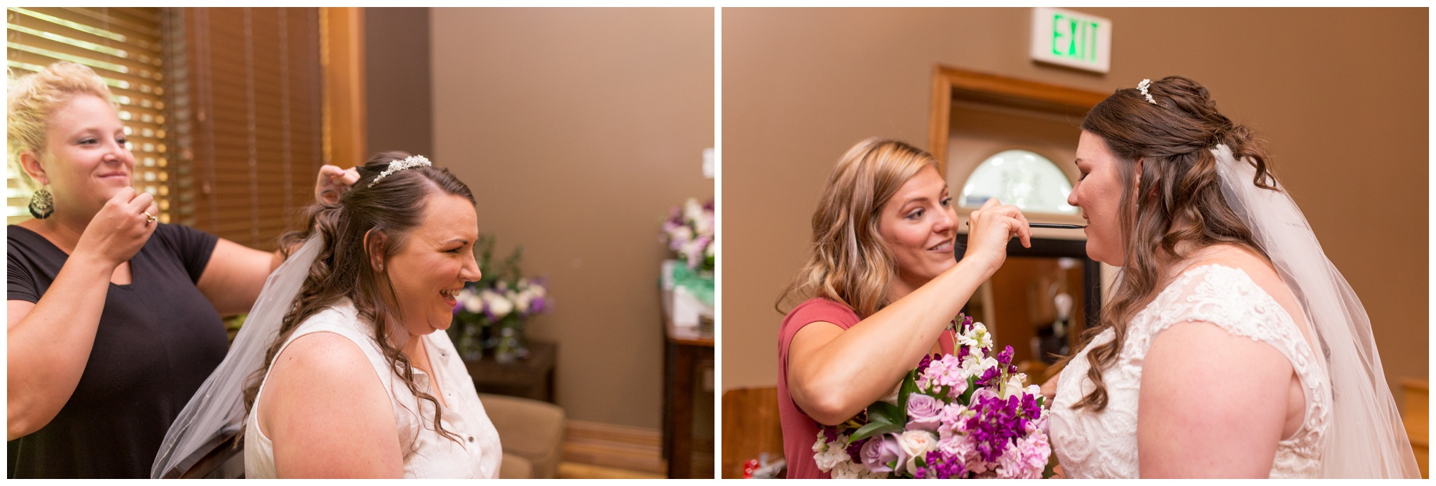 bride getting ready photos before Crossroads Community Church wedding in Kokomo Indiana