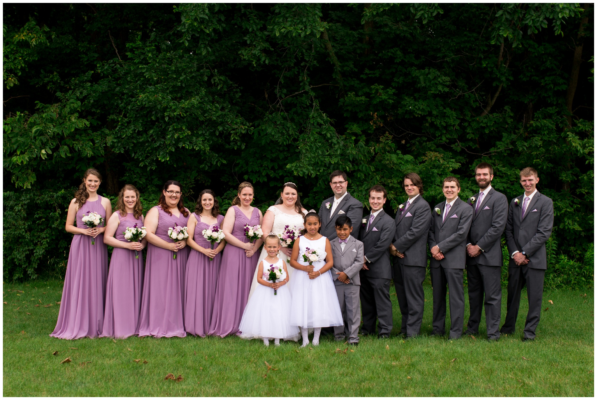 wedding party portraits before Kokomo Indiana summer wedding