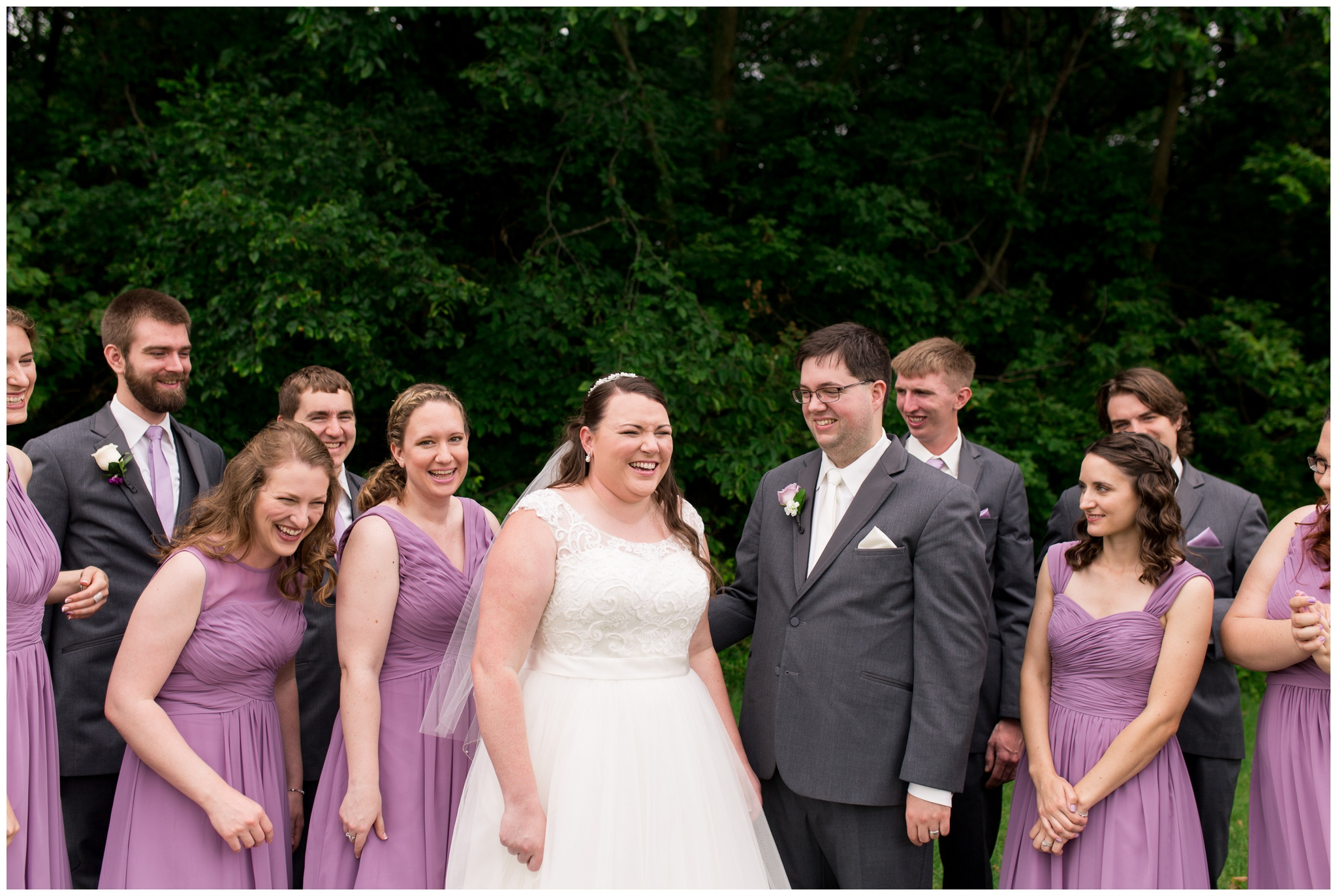 wedding party laughing together in Kokomo Indiana