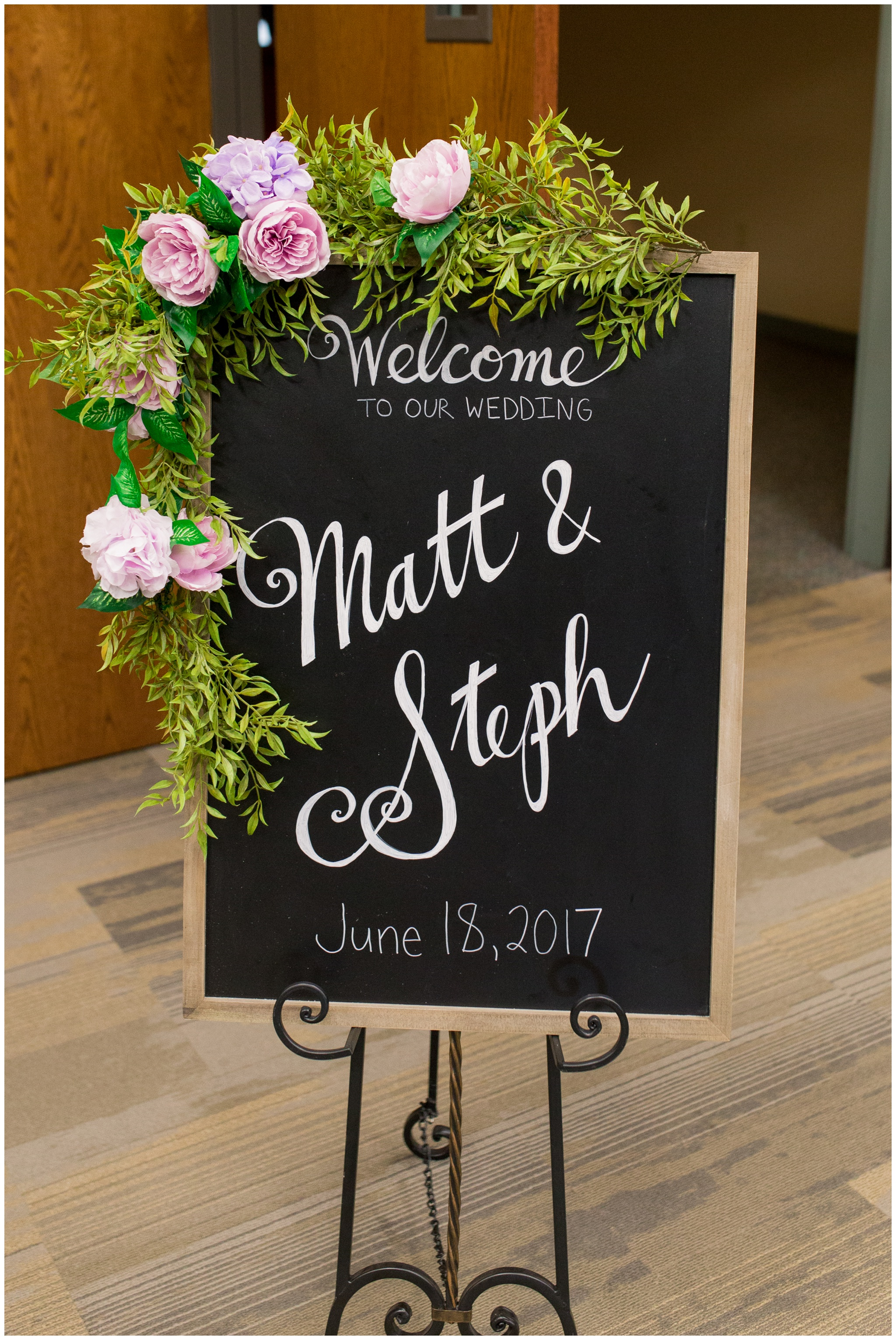 wedding welcome sign in church lobby at Crossroads Community Church in Kokomo Indiana