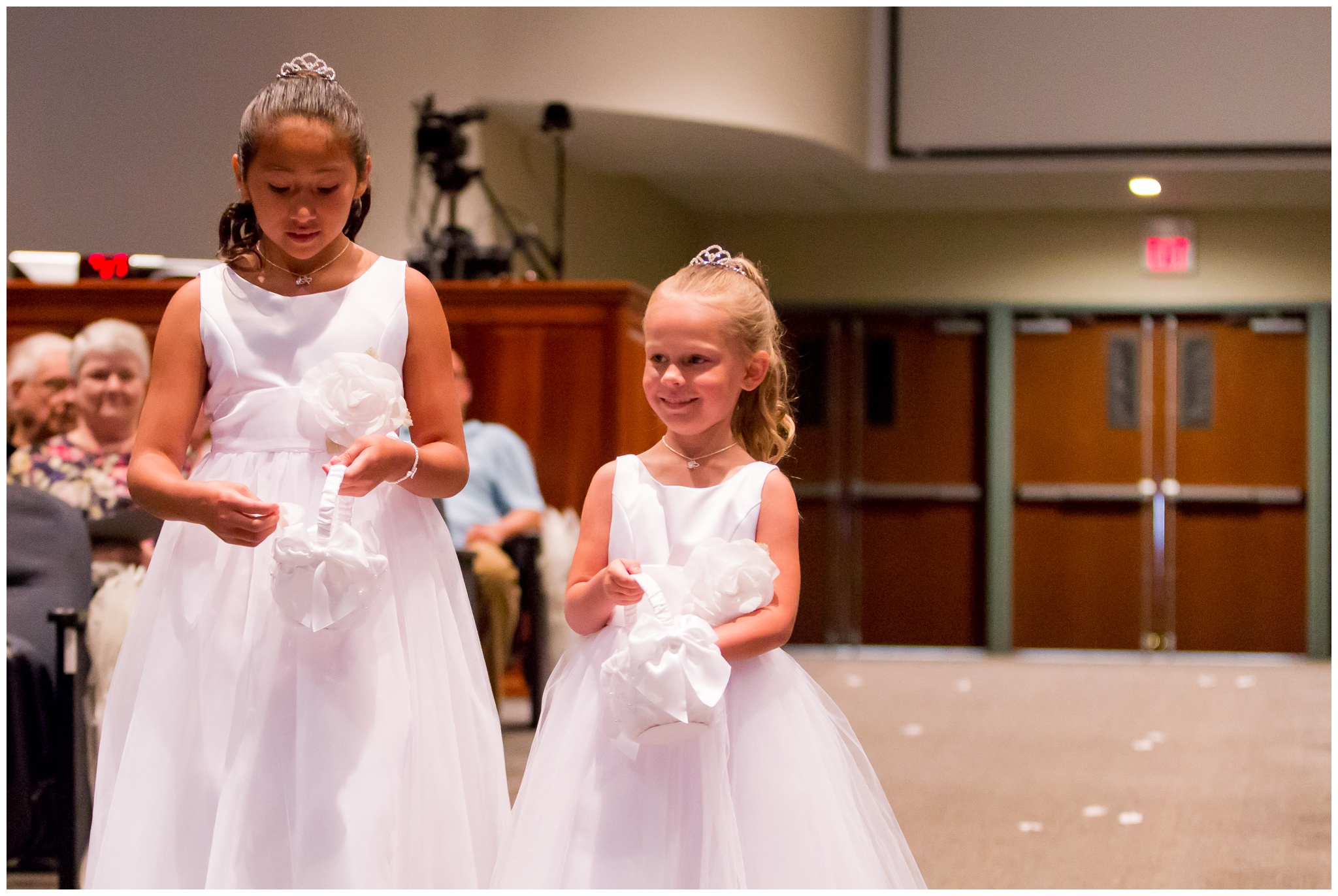 flower girls during wedding at Crossroads Community Church in Kokomo Indiana
