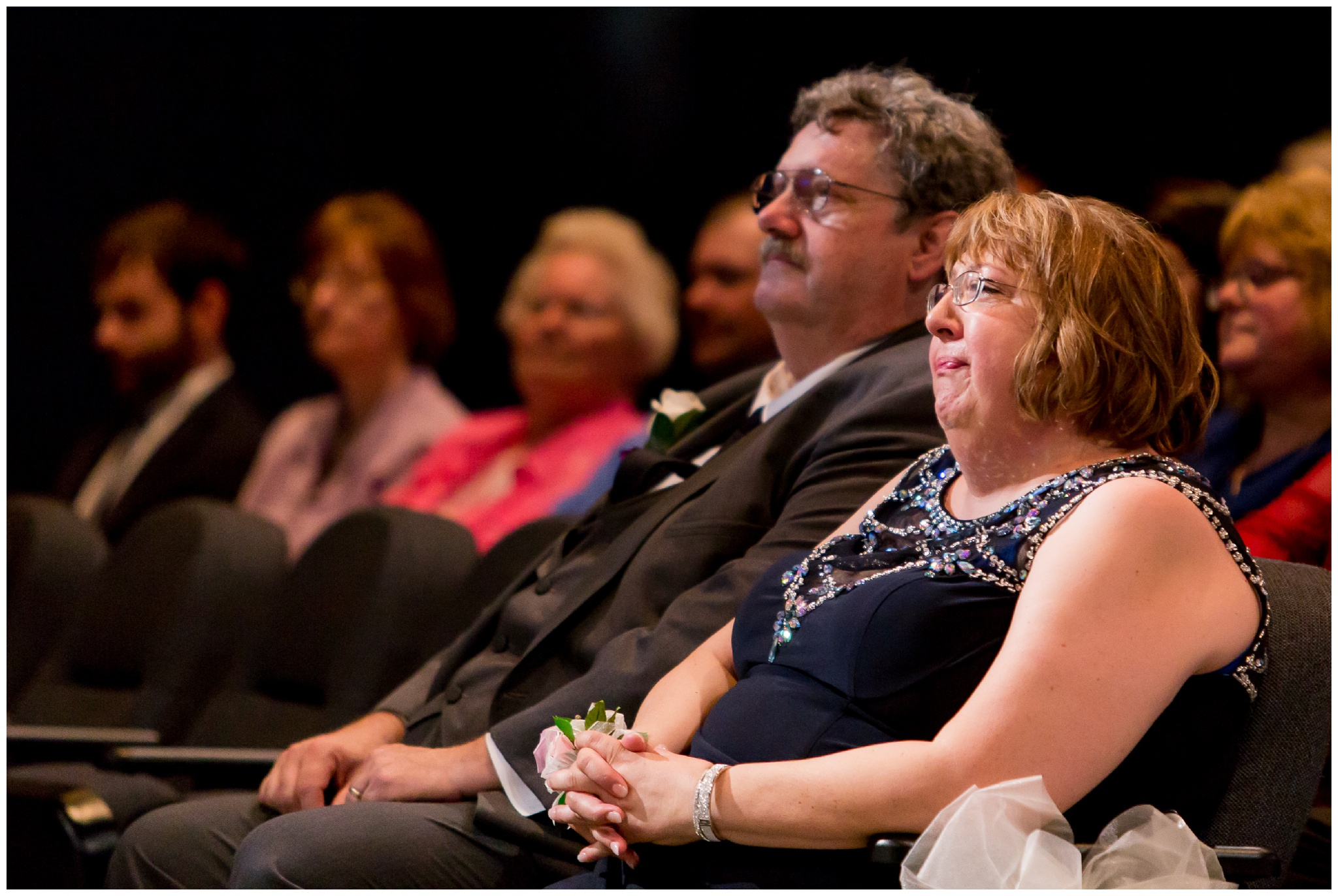groom's parents during wedding ceremony at Crossroads Community Church in Kokomo Indiana