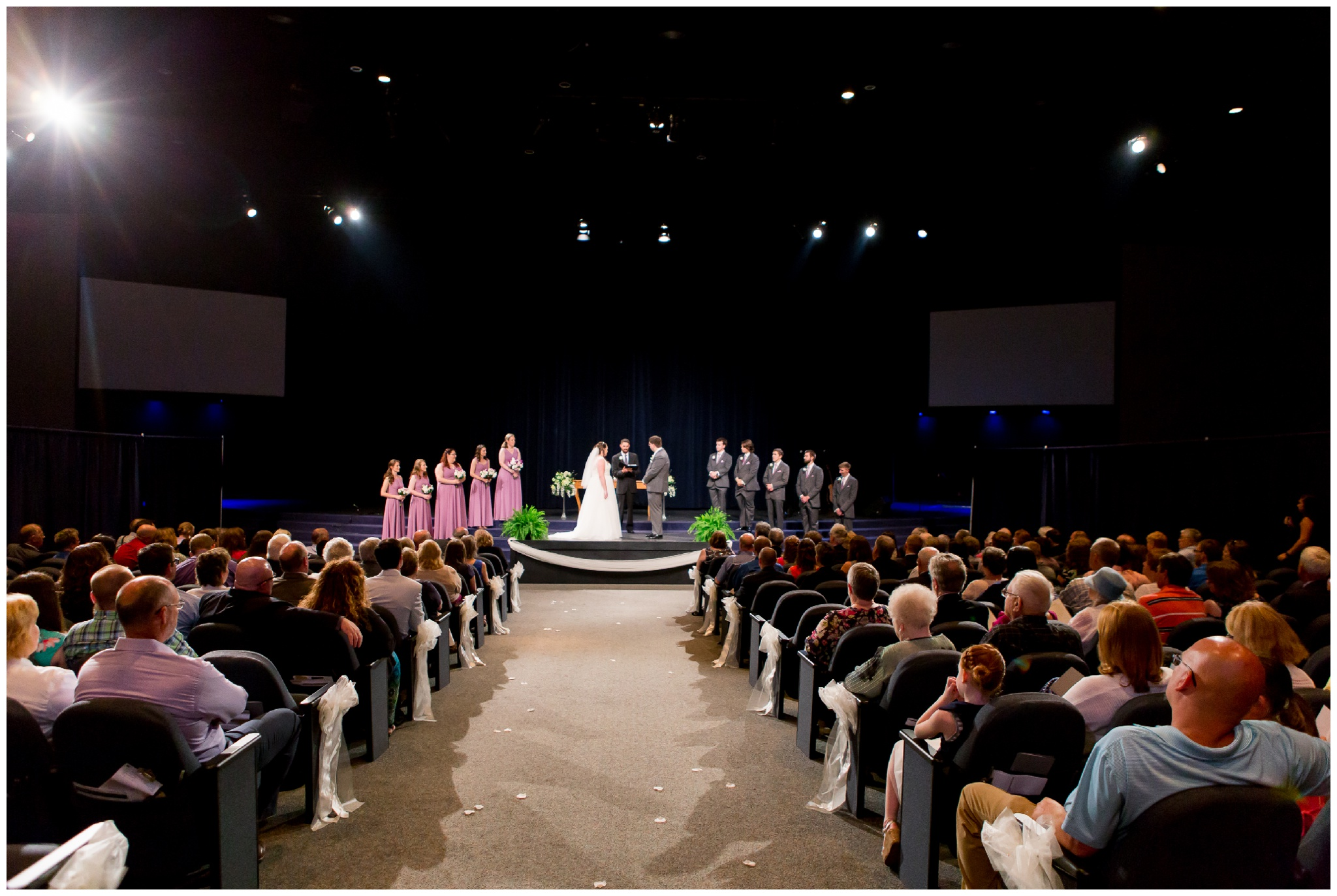 wedding ceremony wide shot at Crossroads Community Church in Kokomo Indiana