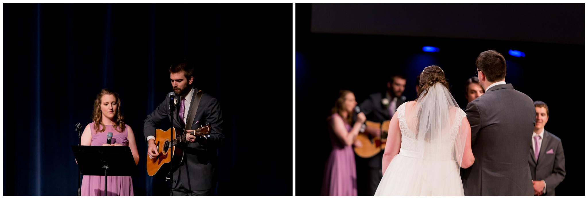 bride's brother and sister-in-law lead worship during wedding ceremony at Crossroads Community Church in Kokomo Indiana
