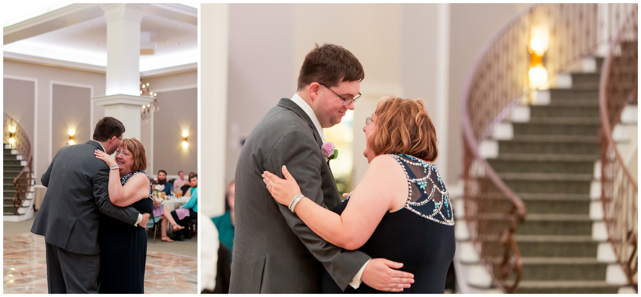 groom and mother of groom dance during wedding reception at Bel Air Events Kokomo