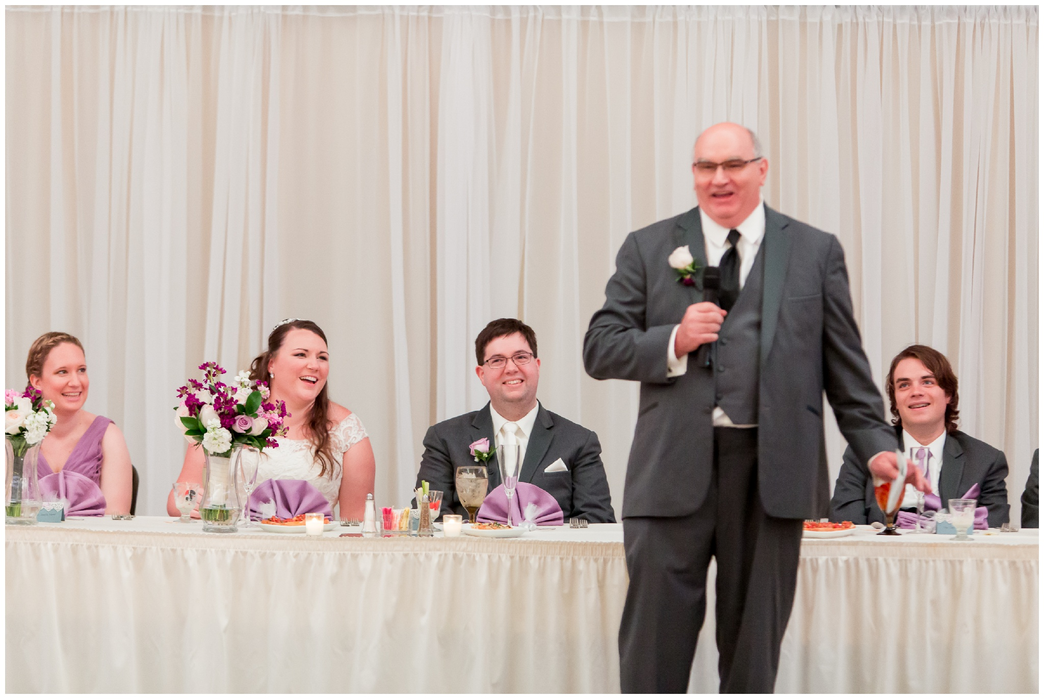 father of bride gives speech during wedding reception at Bel Air Events Kokomo