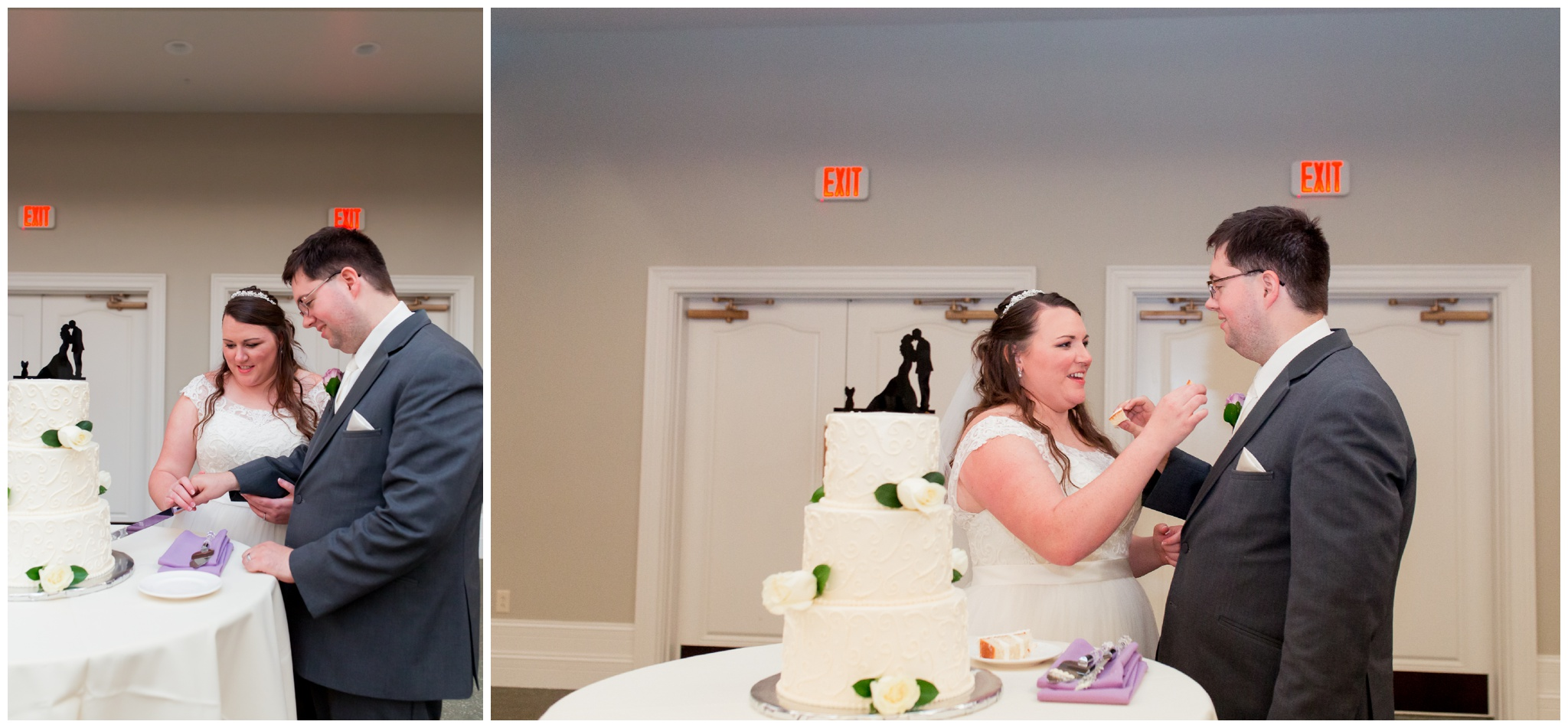 bride and groom cake cutting at Bel Air Events Kokomo