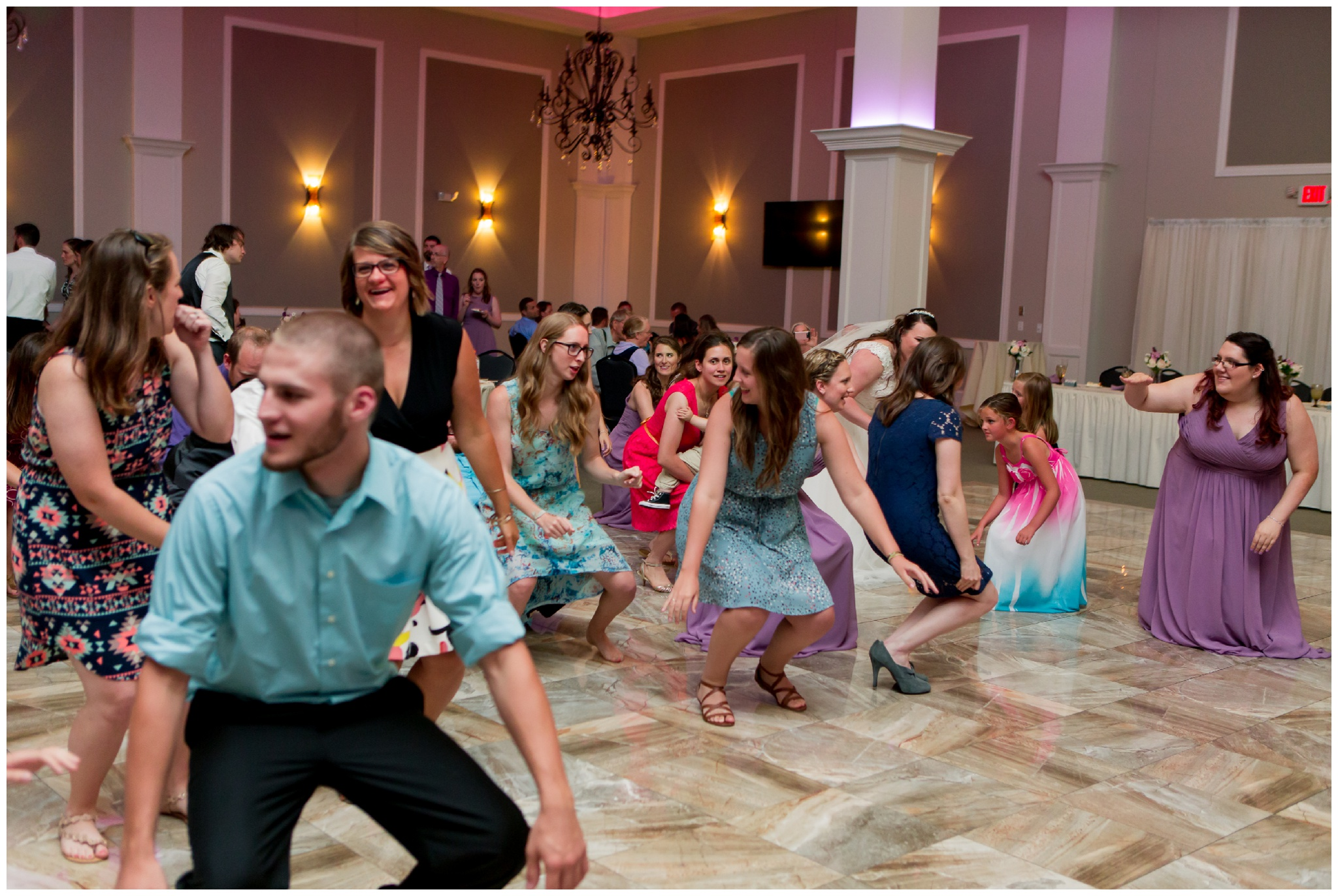 wedding reception guests dancing at Bel Air Events in Kokomo Indiana