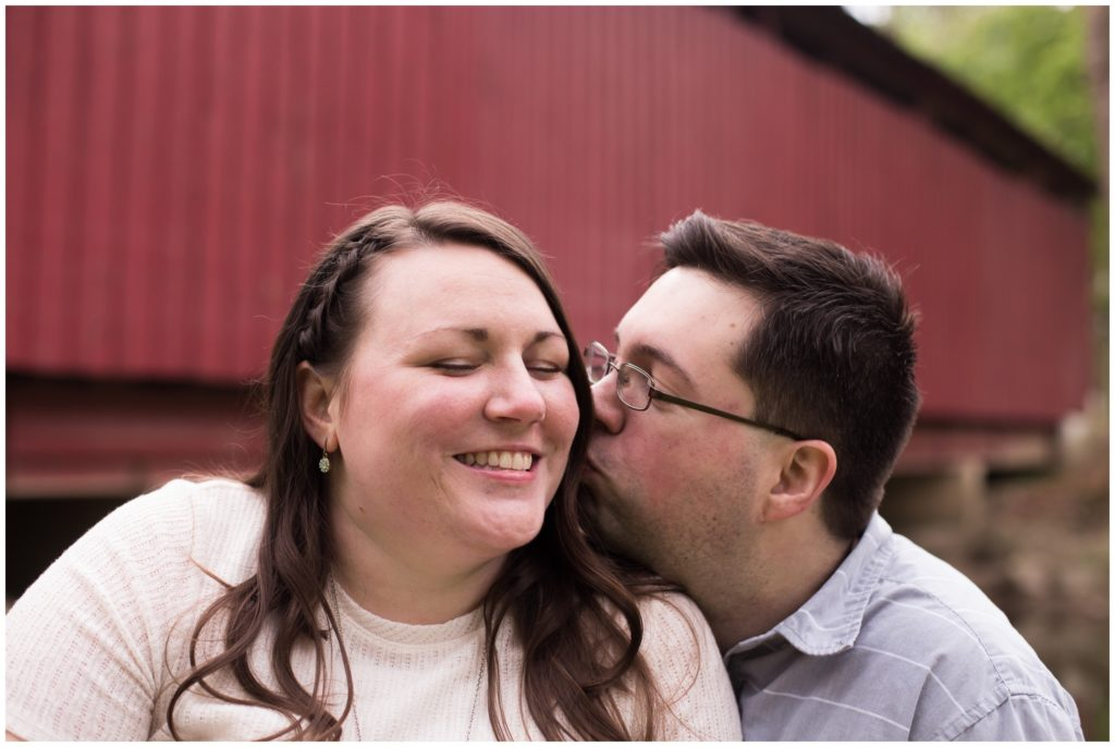 Engagement session by Vermont Covered Bridge in Highland Park in Kokomo, Indiana