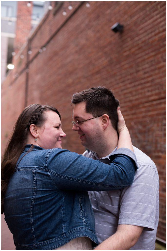 Engagement session in downtown Kokomo Indiana alleyway