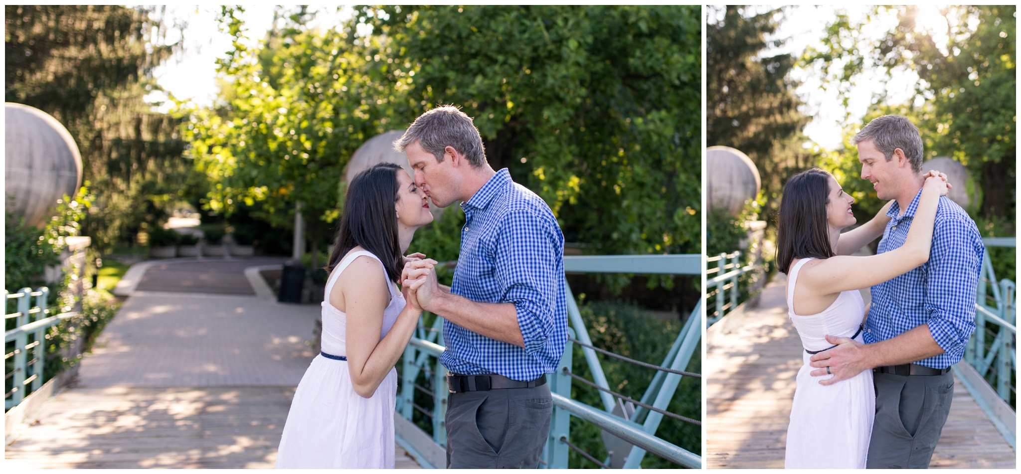 Couples session on bridge along downtown canal in Indianapolis
