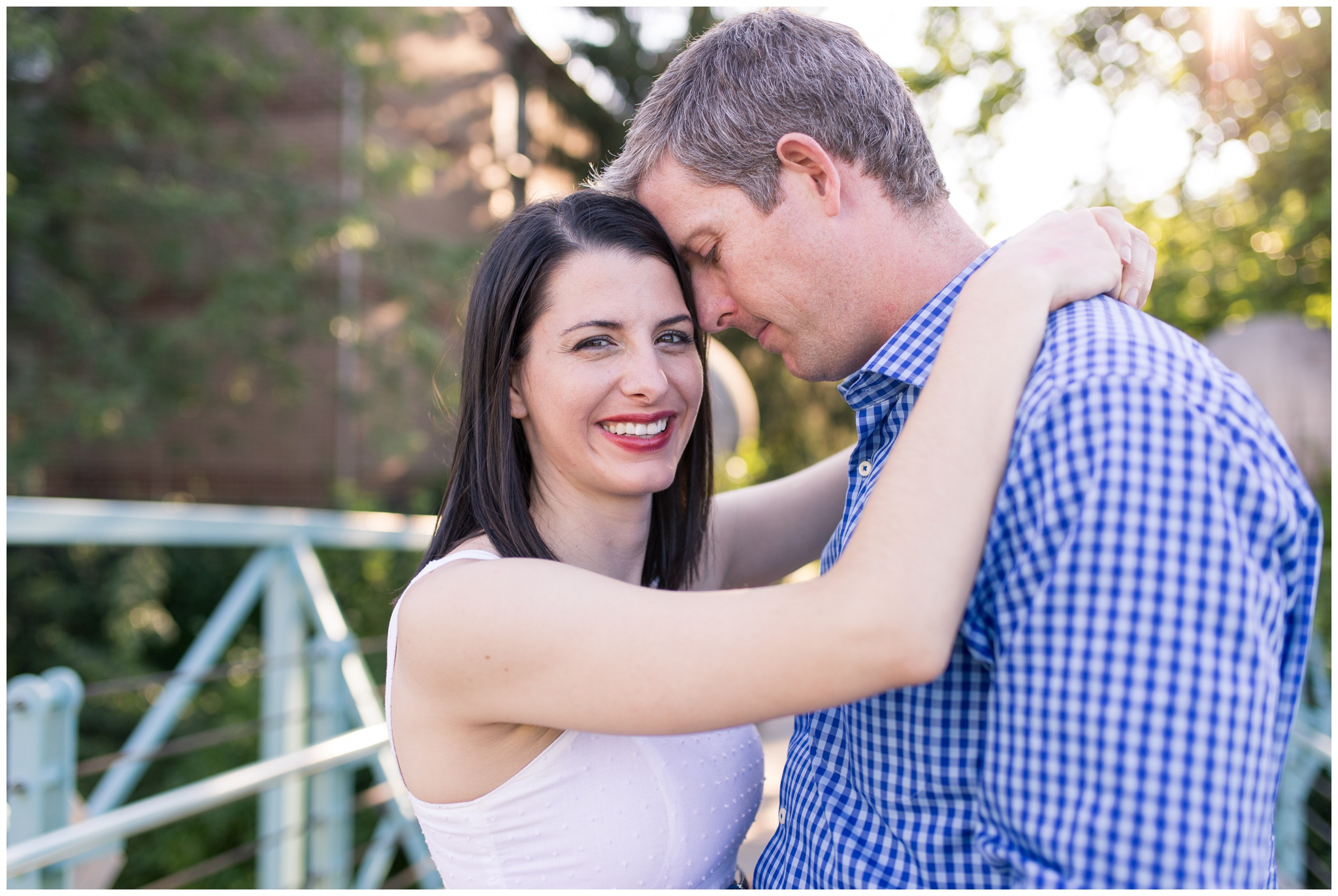 Husband and wife couples session along downtown Indy canal