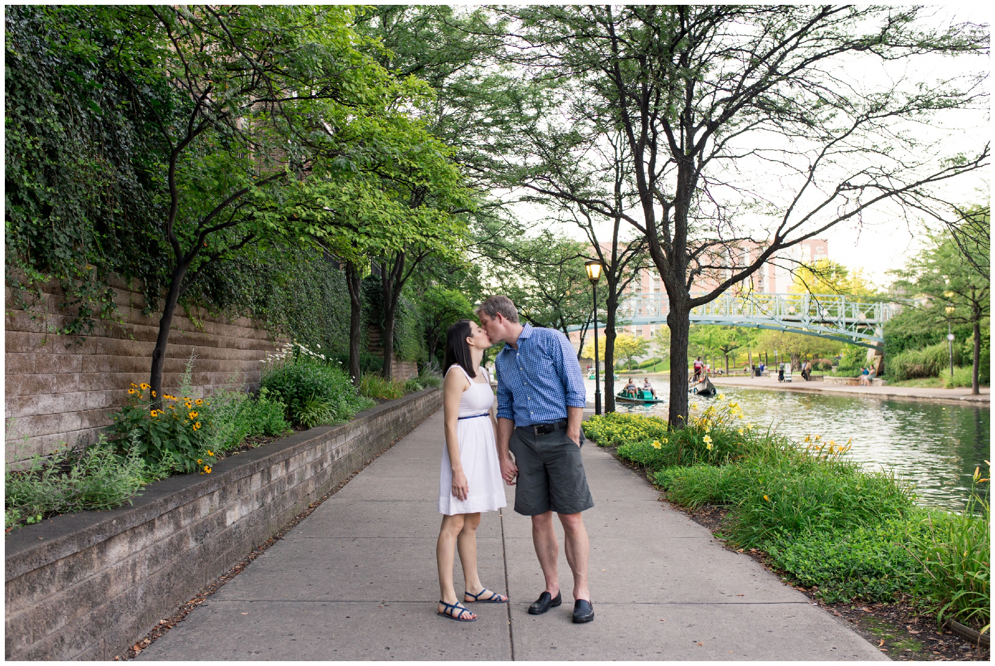Couples portraits along downtown Indy canal