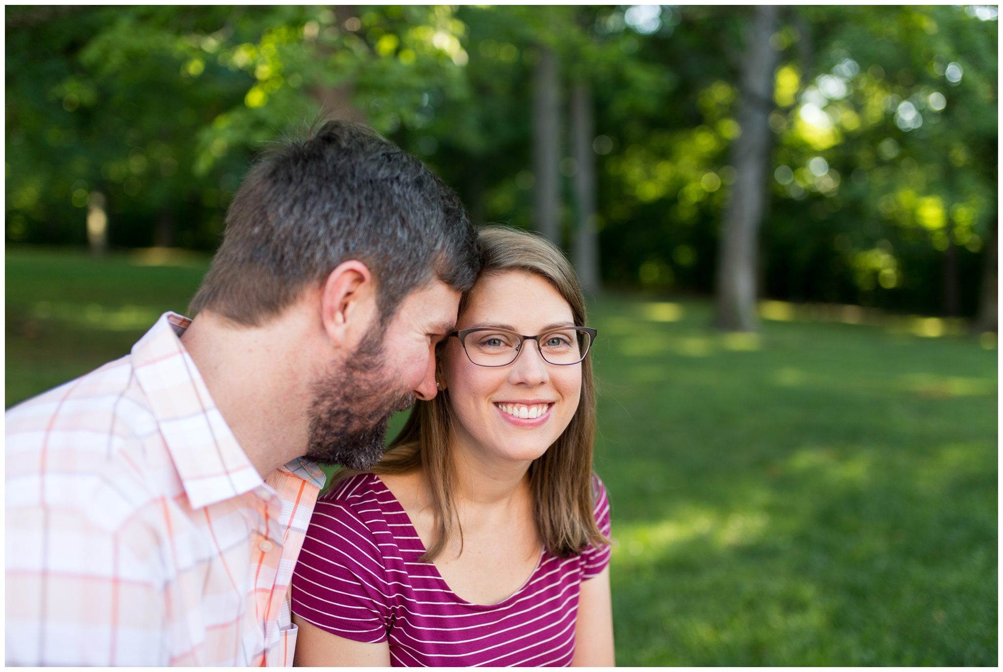 engaged couple in Dunn Woods at Indiana University in Bloomington Indiana