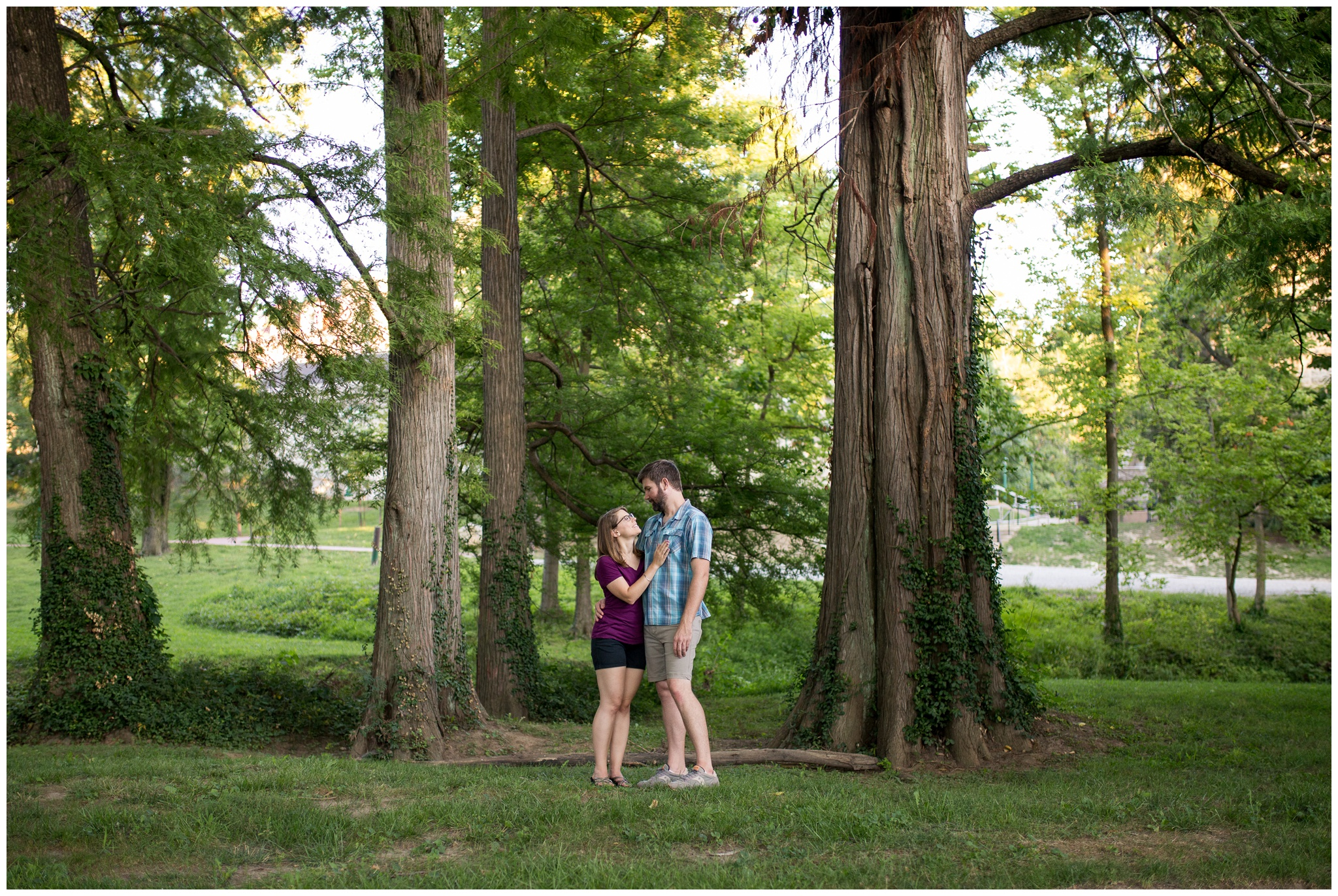 woodsy engagement session at Indiana University in Bloomington Indiana