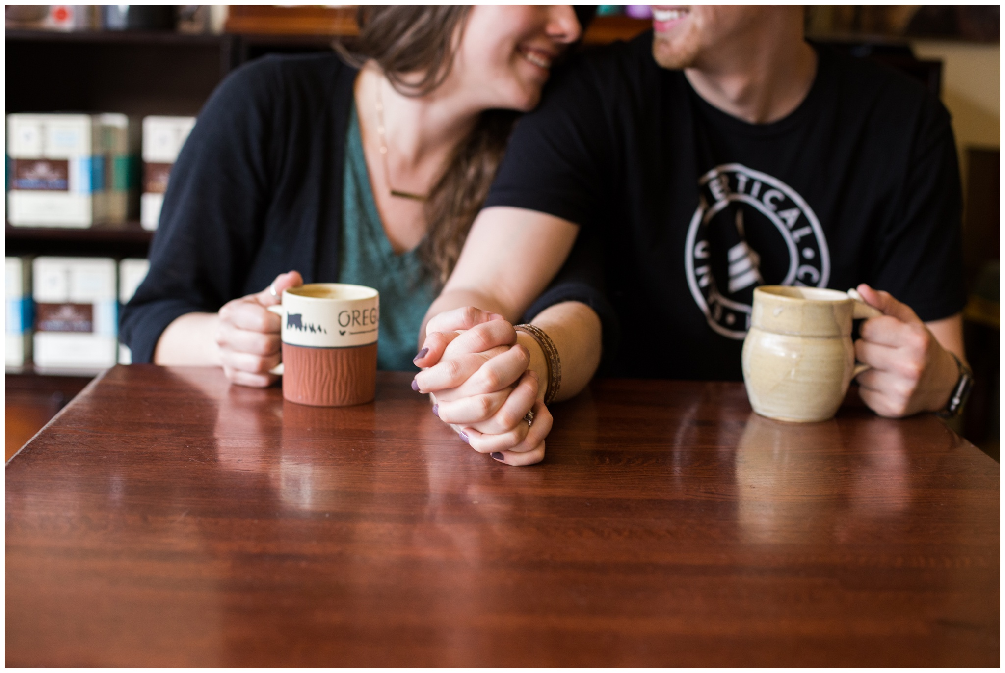 engagement session at Noble Coffee & Tea in Noblesville Indiana