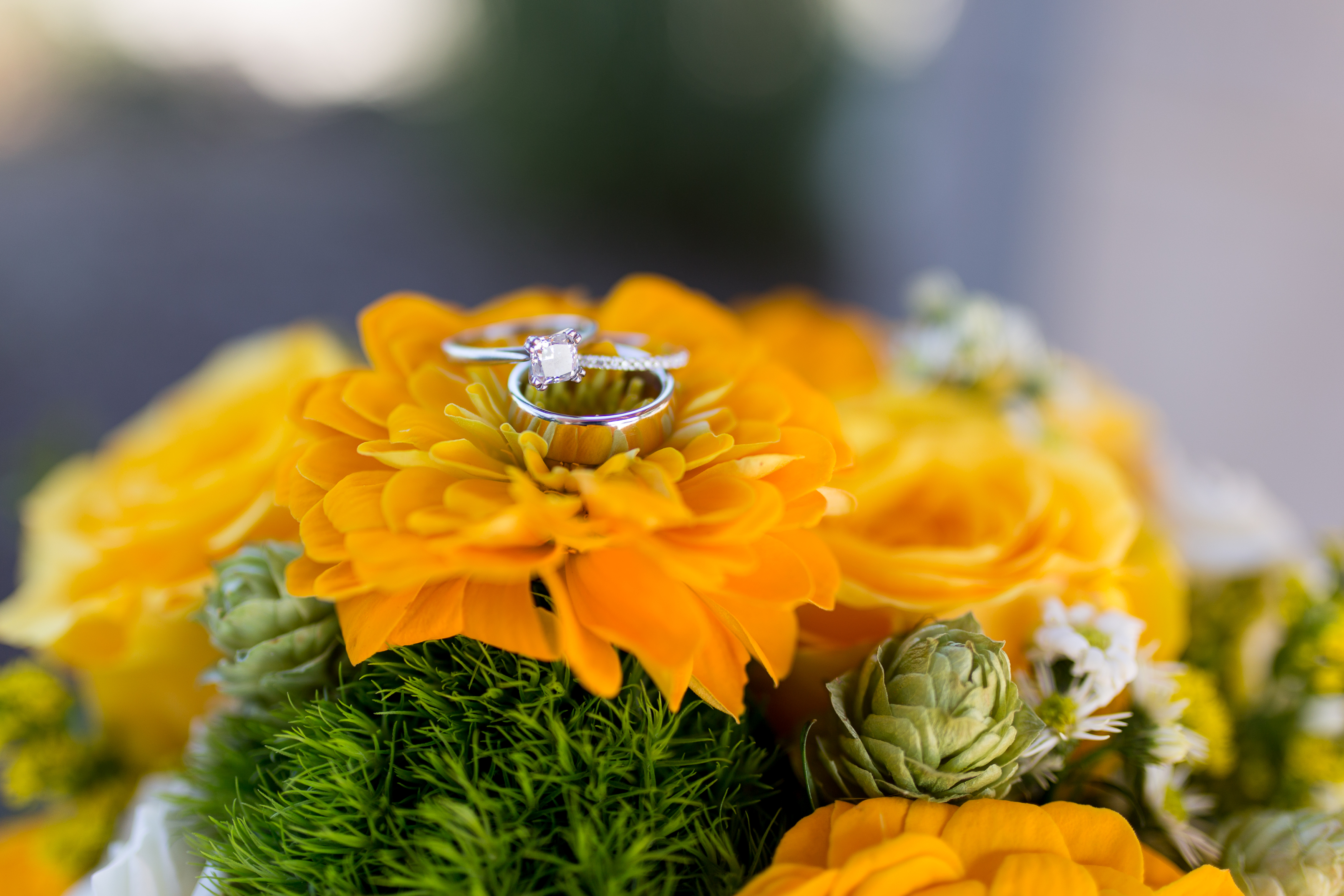 wedding bands on bridal bouquet at Minnetrista Cultural Center