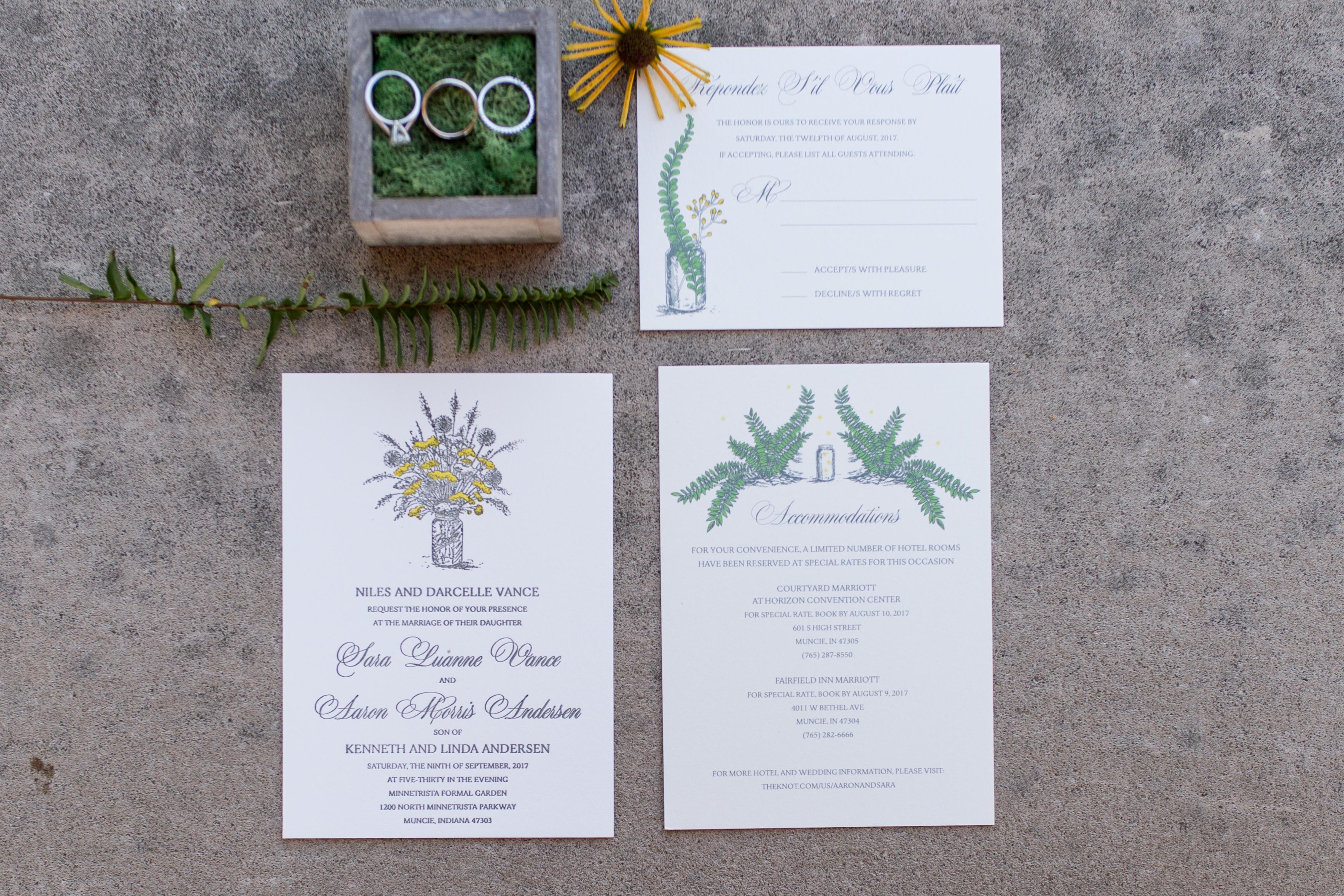 Muncie Indiana wedding invitation suite