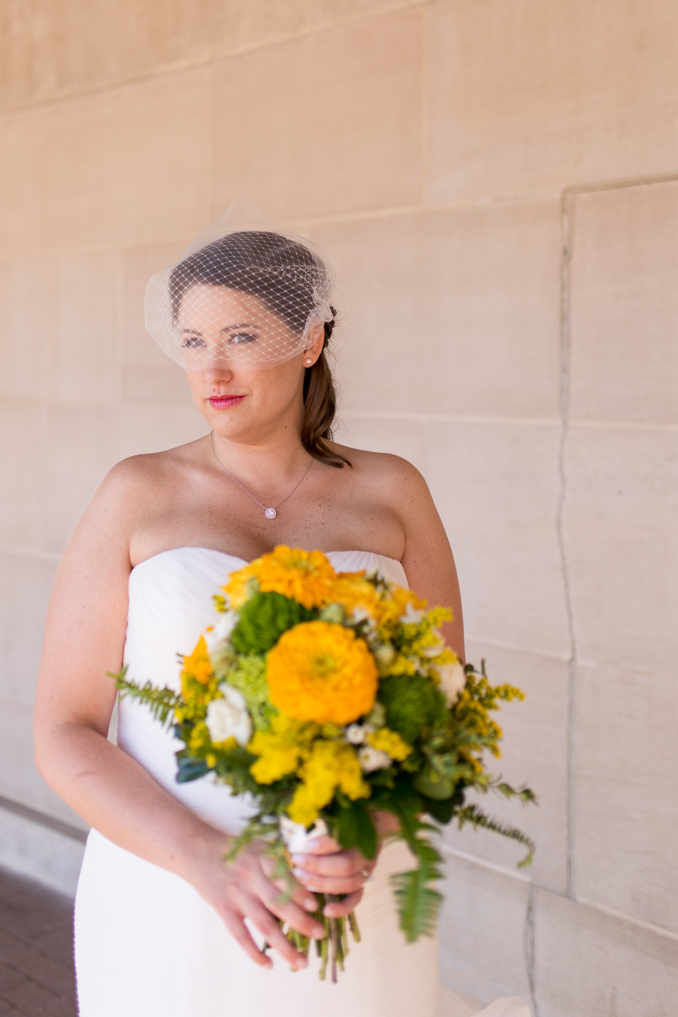 bridal portraits outside Minnetrista Cultural Center in Muncie Indiana