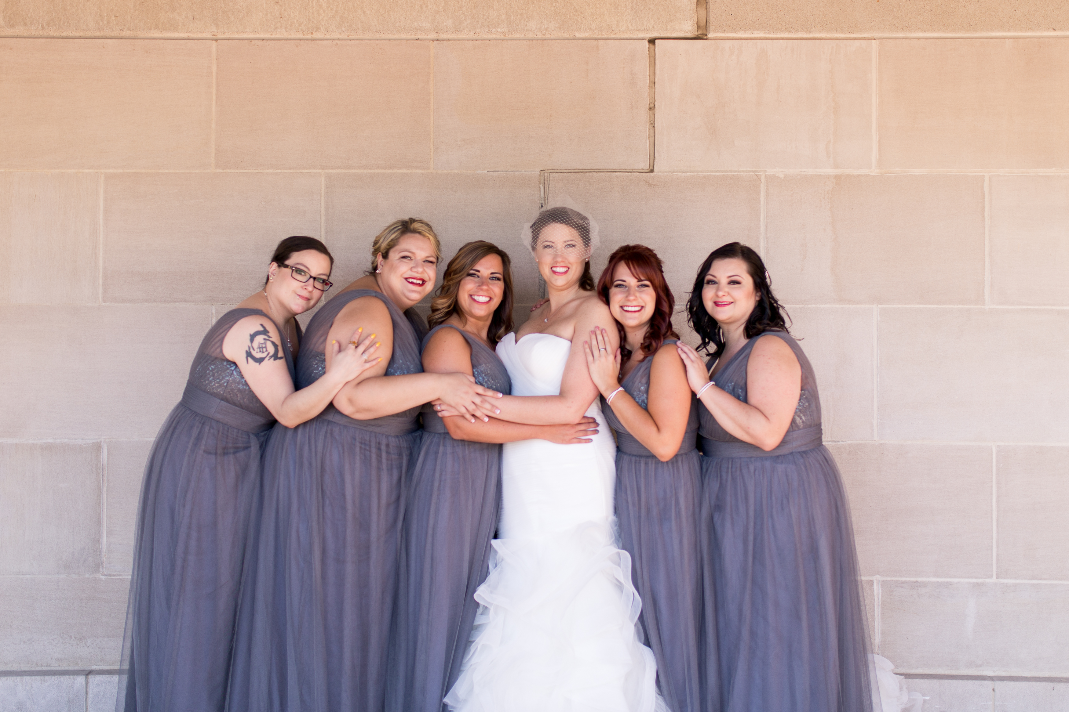 bride and bridesmaids outside Minnetrista in Muncie Indiana