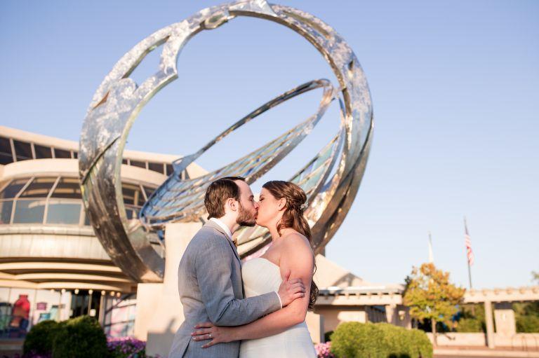 Minnetrista catalyst sculpture bride and groom Muncie Indiana wedding