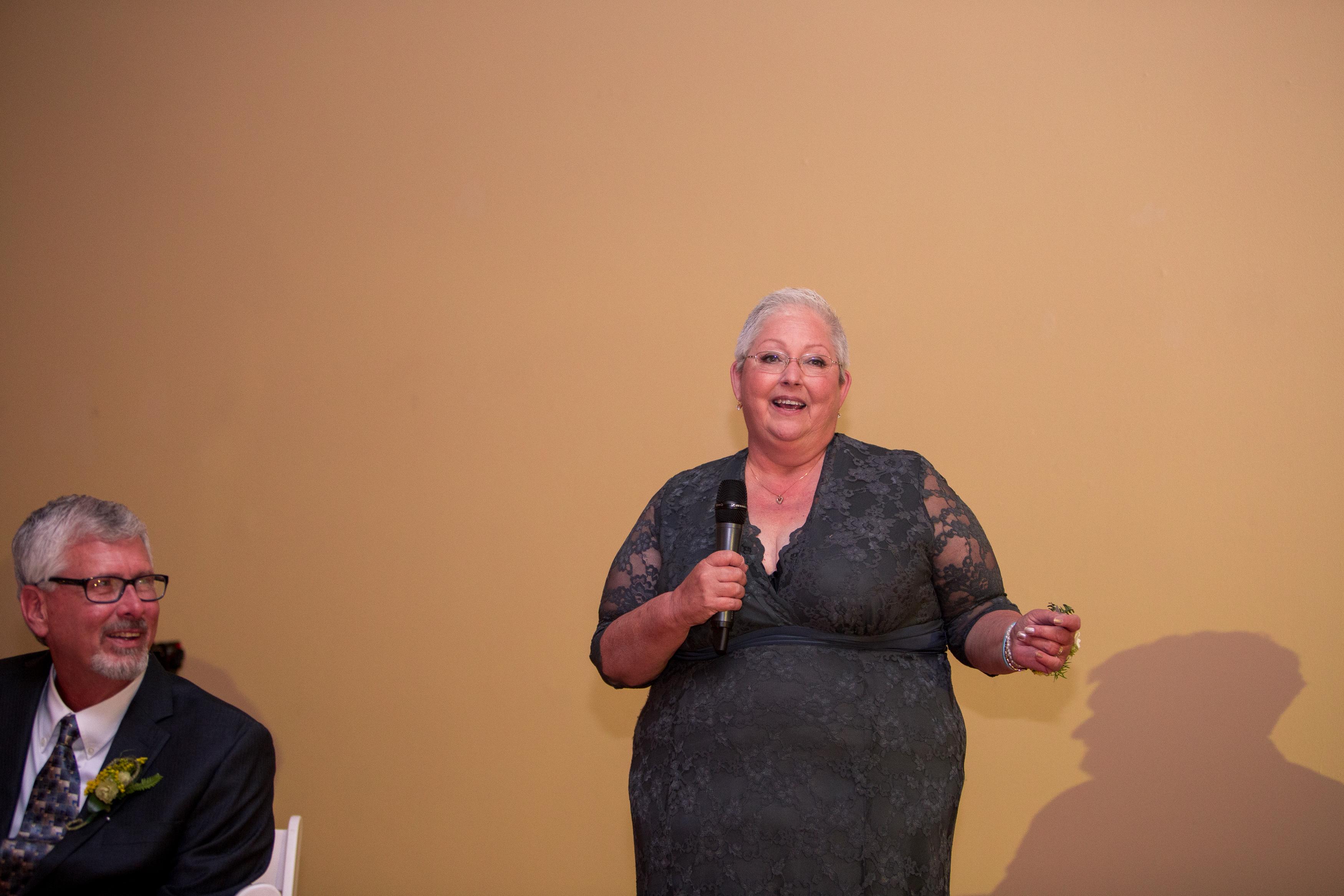 mother of bride speech at Minnetrista wedding reception in Muncie Indiana