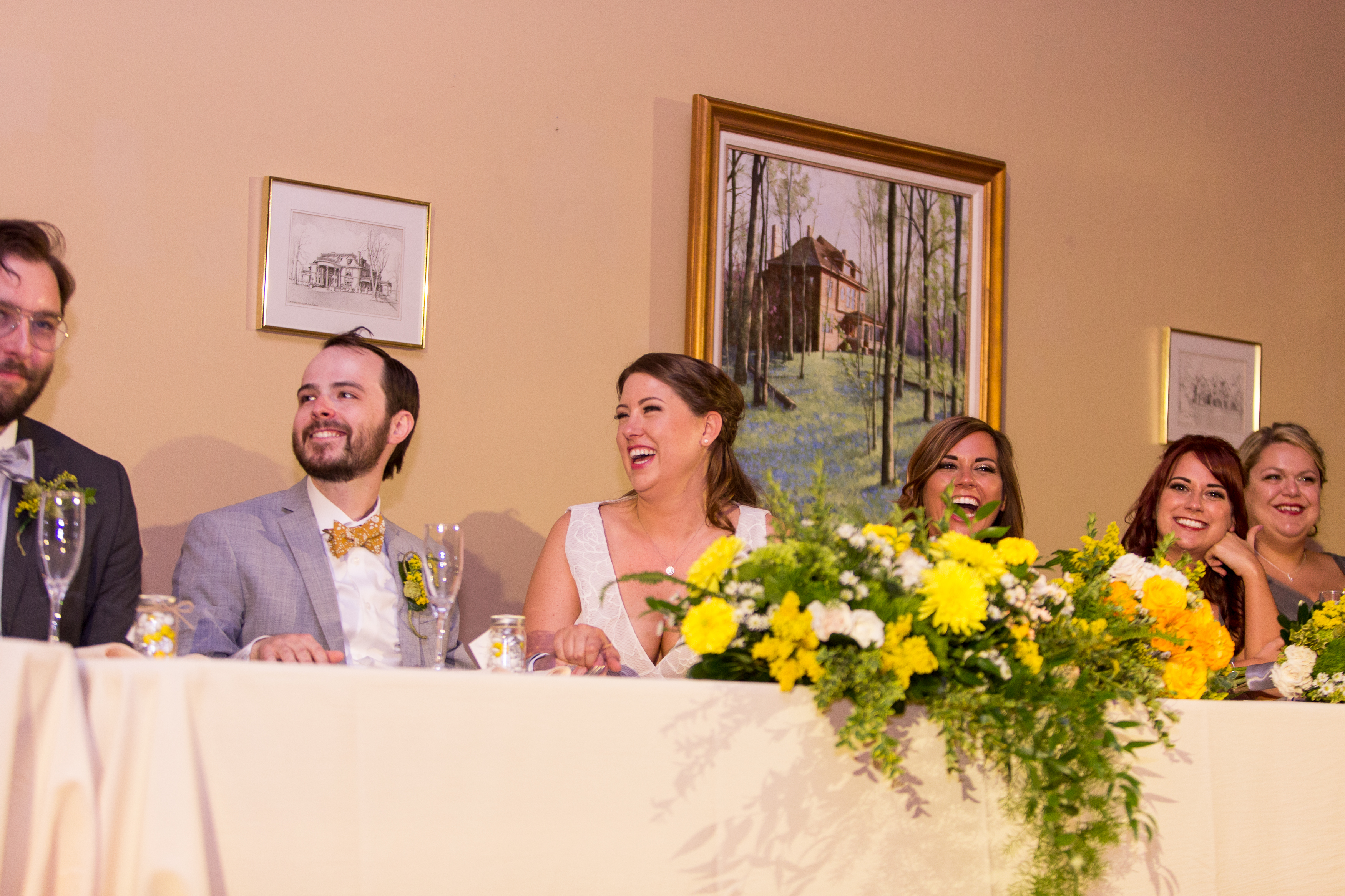bridal party at head table at Minnetrista in Muncie Indiana
