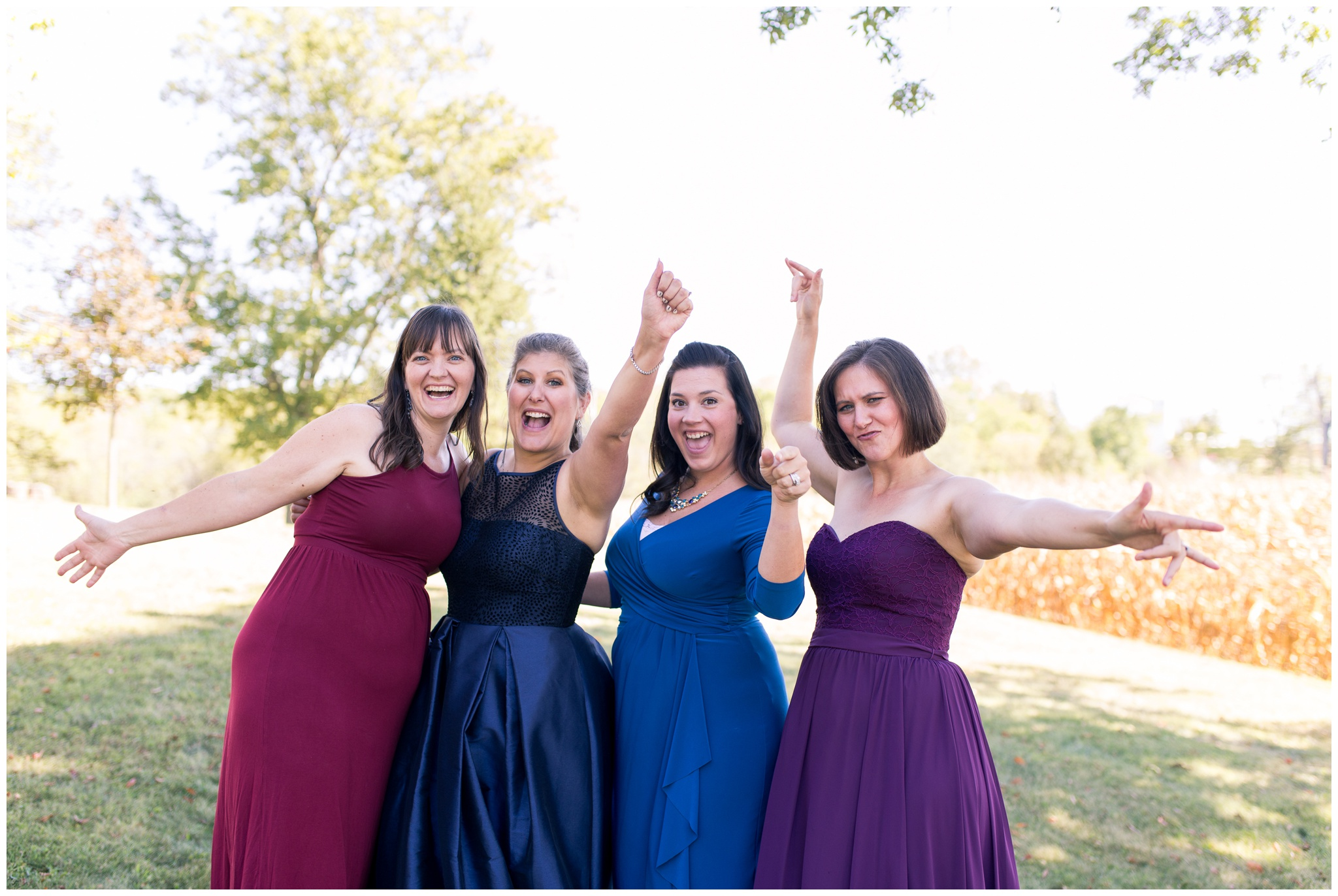 bride and bridesmaids cheer before
