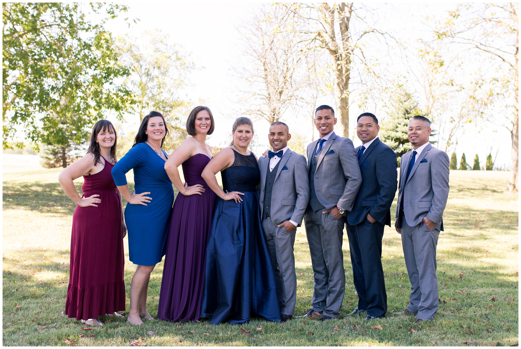 whole bridal party portraits before Romer's Catering Greenville wedding