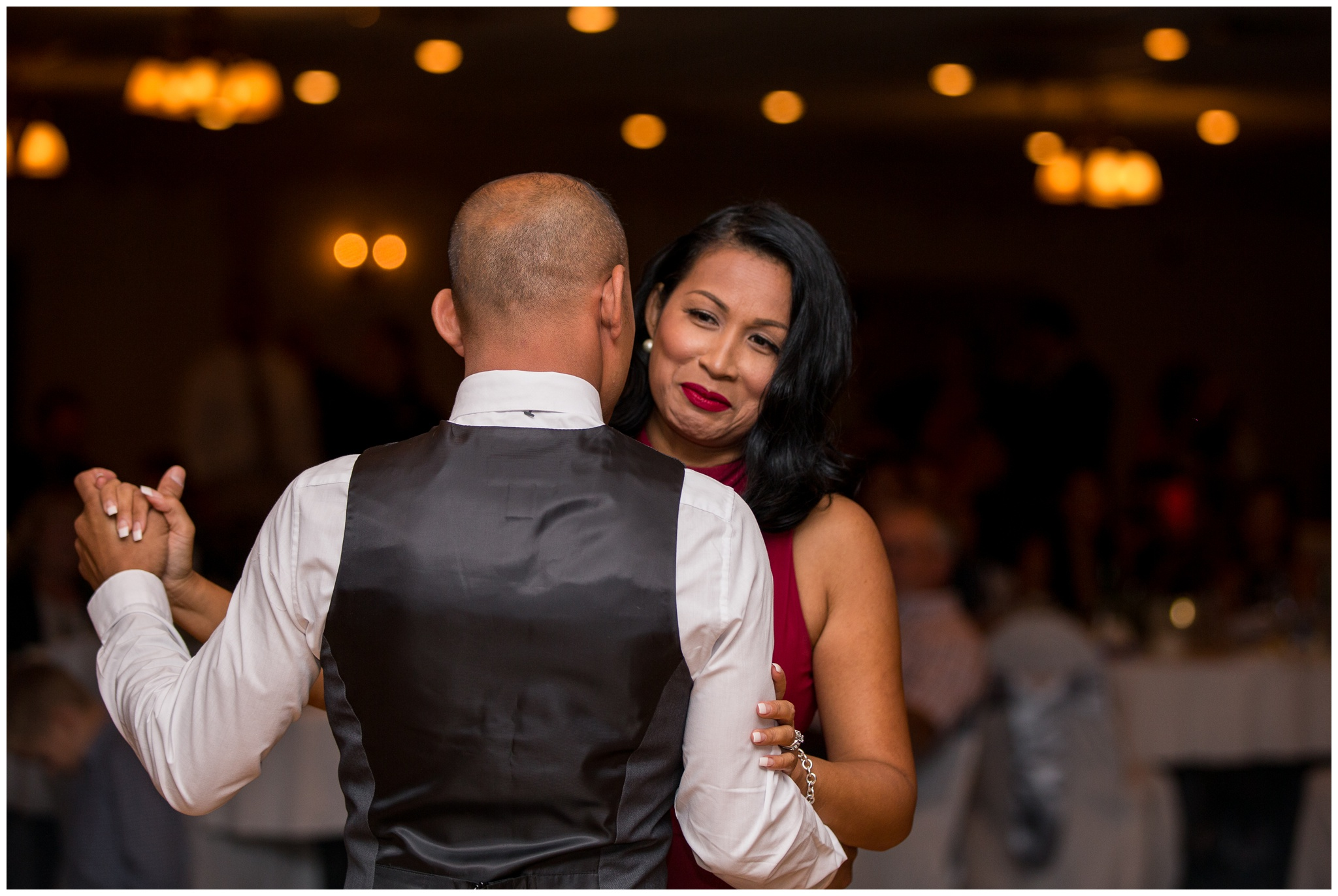 groom dances with sister during wedding reception at Romer's Catering in Greenville Ohio