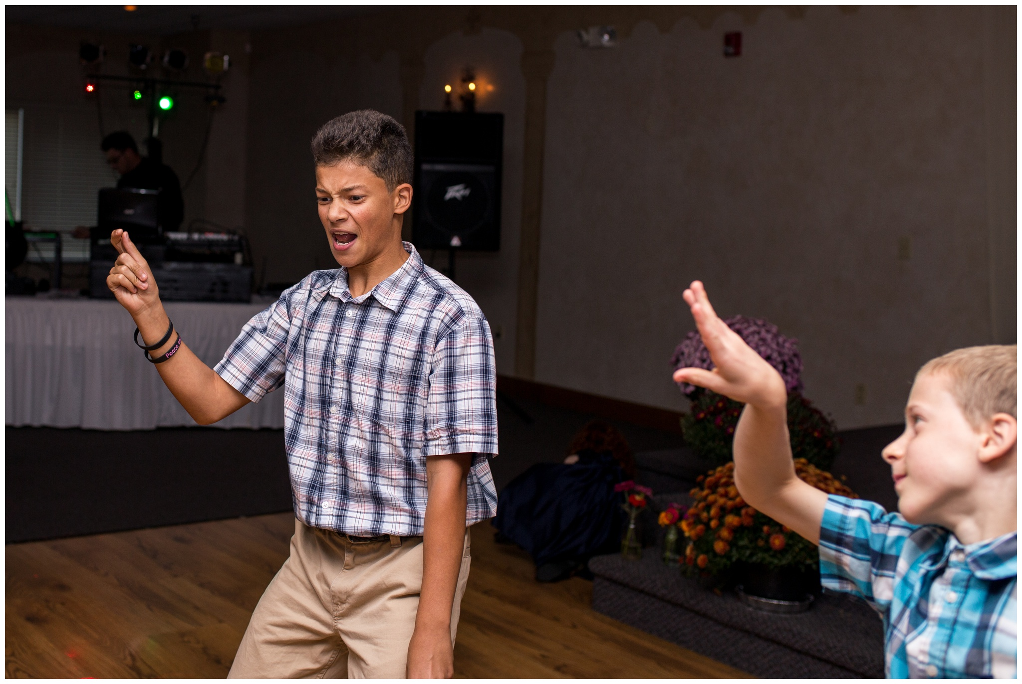 kids dancing during wedding reception at Romer's Catering in Greenville Ohio