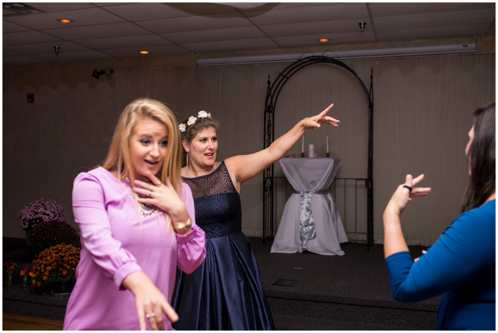 bride dancing during wedding reception at Romer's Catering in Greenville Ohio