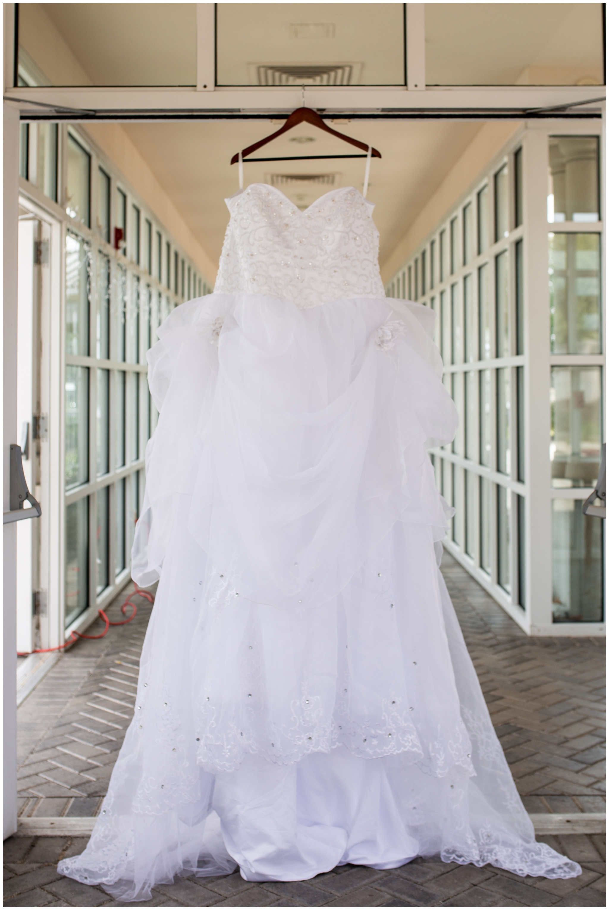 bride's dress hanging at Community Life Center in Indianapolis Indiana