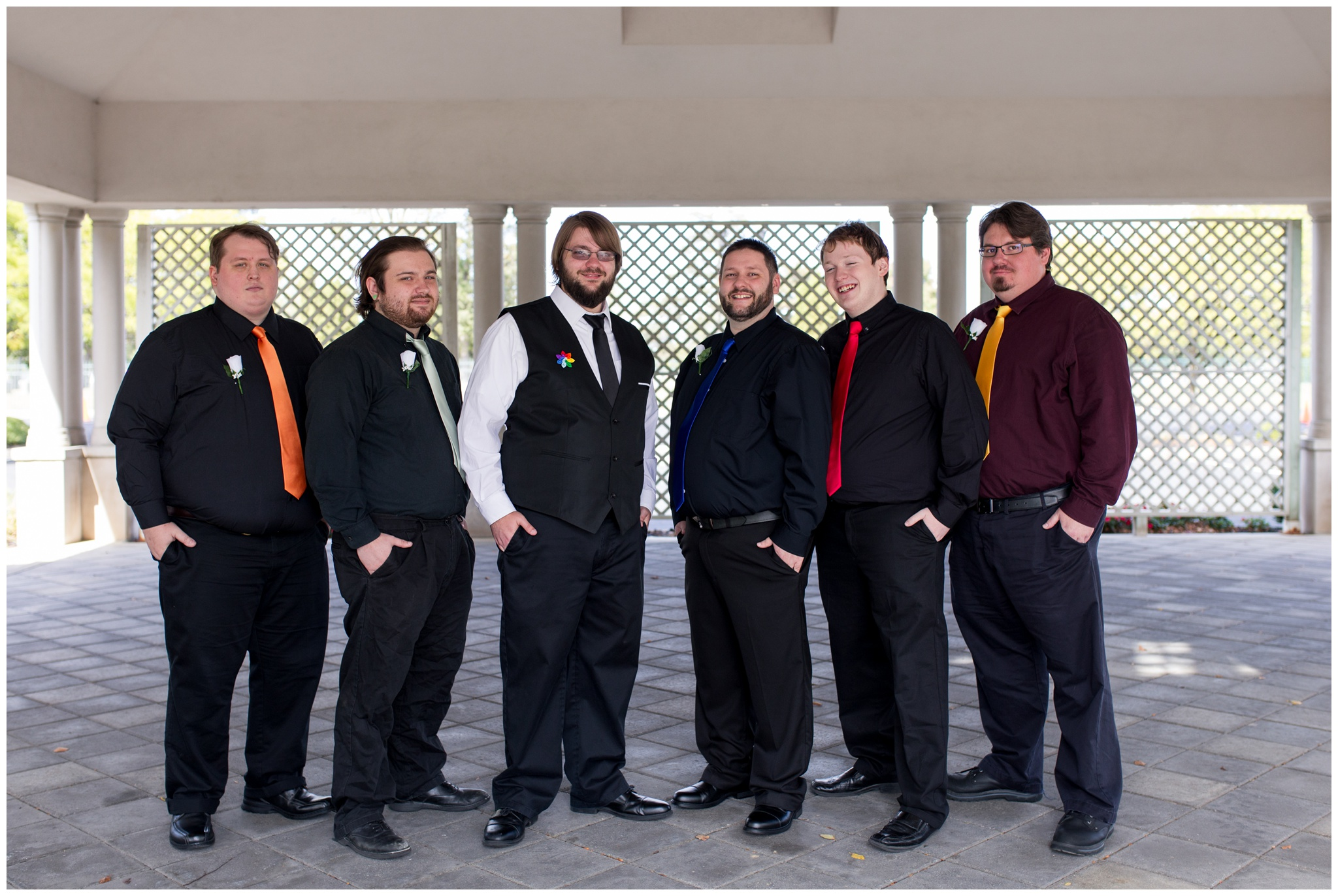 groomsmen with groom before Community Life Center wedding in Indianapolis Indiana