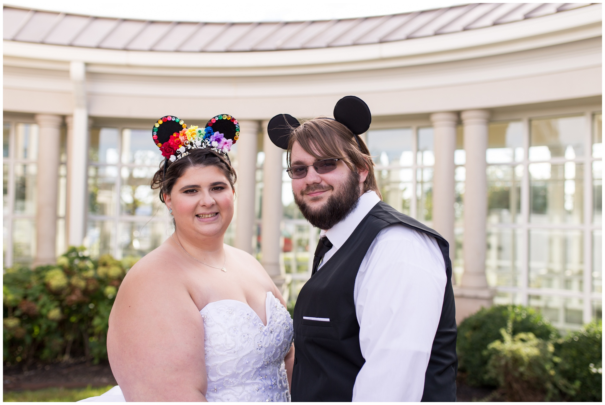 bride and groom with Mickey Mouse ears at Community Life Center in Indianapolis Indiana