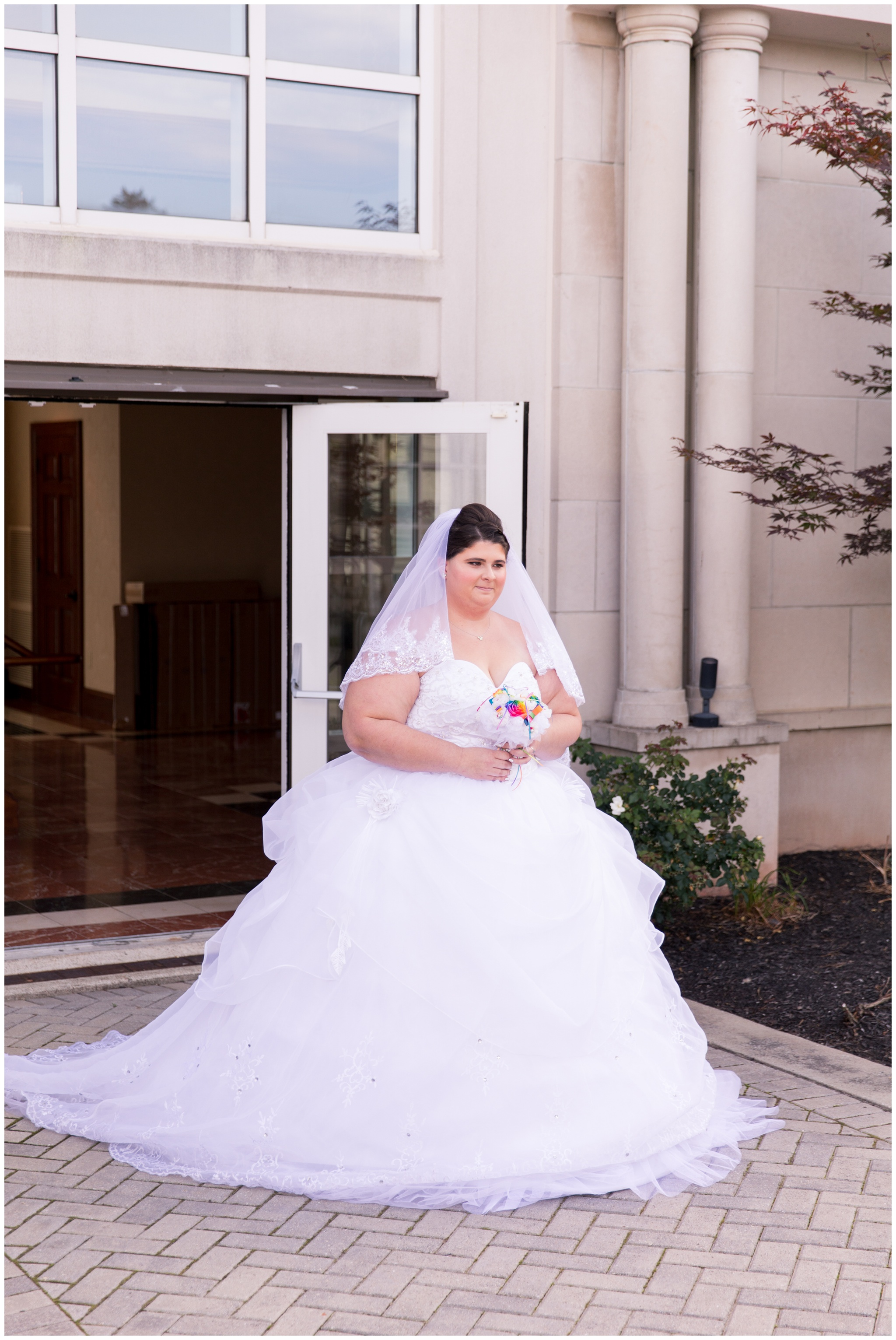 bride walking down aisle during Community Life Center wedding in Indianapolis Indiana