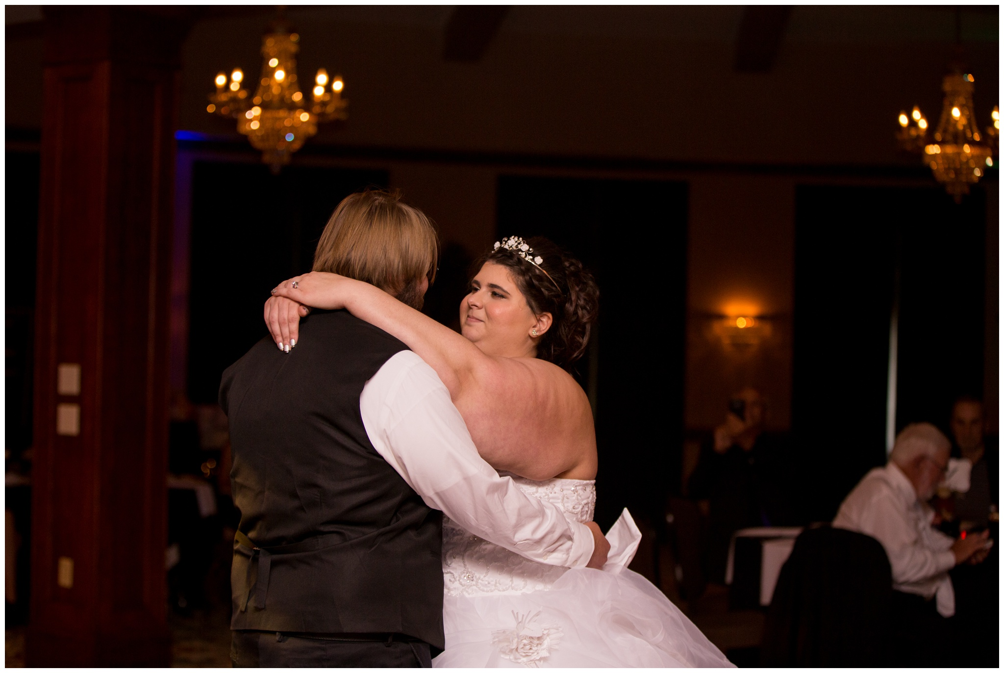 bride and groom dancing at Community Life Center wedding reception in Indianapolis Indiana