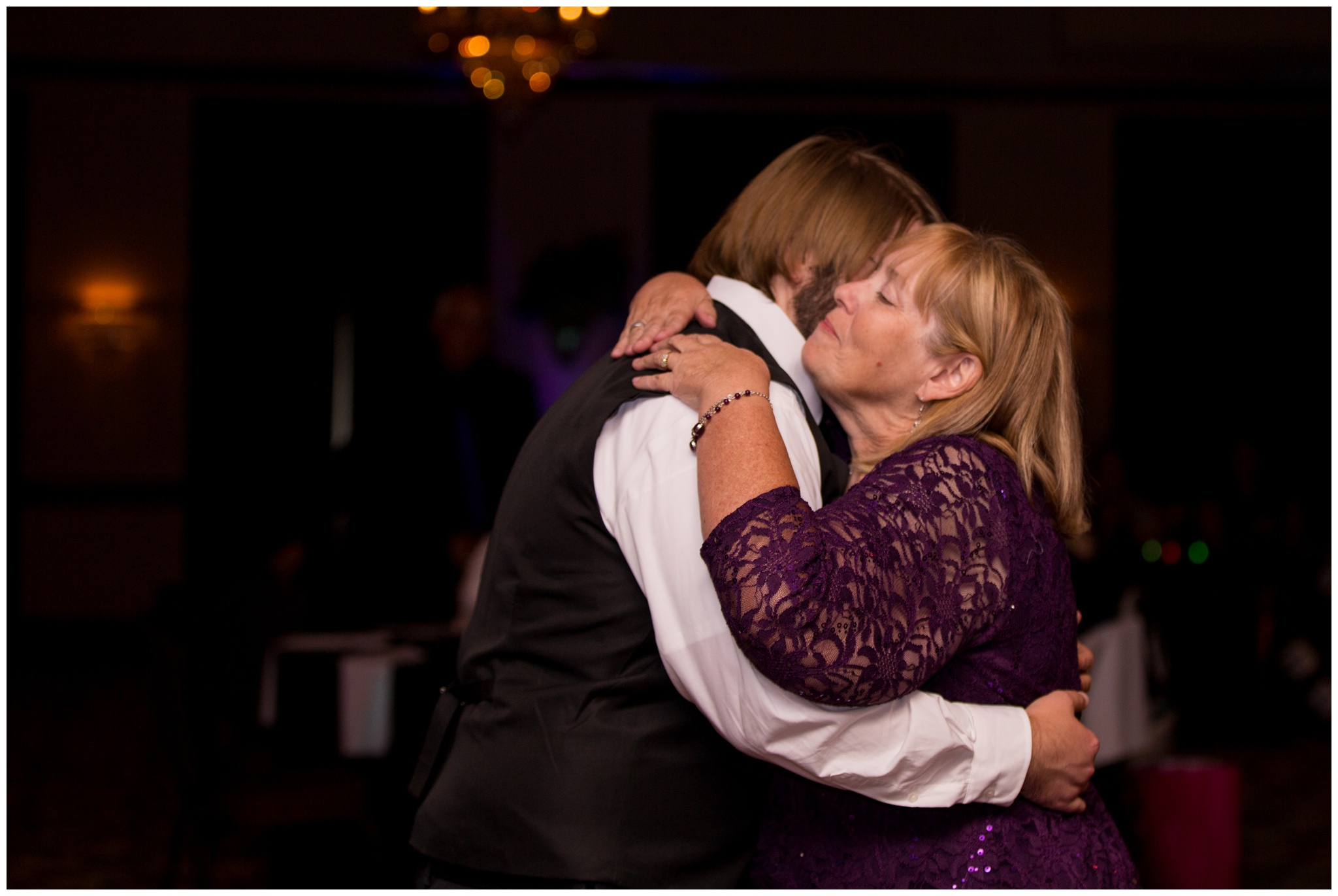 groom and mom dancing at Community Life Center wedding reception in Indianapolis Indiana
