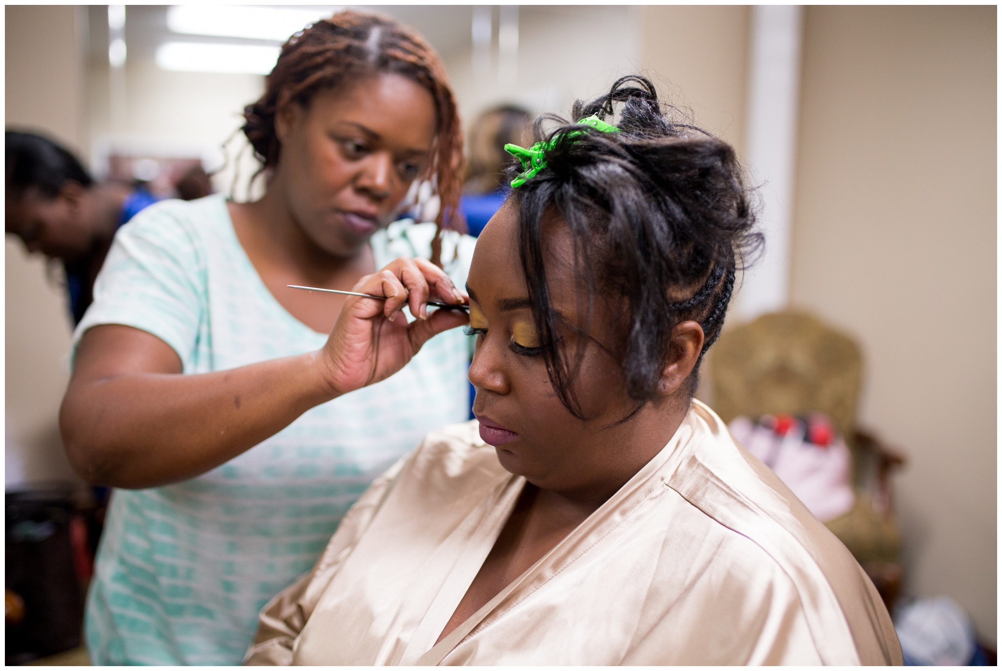 bride getting ready at Community Life Center Indianapolis