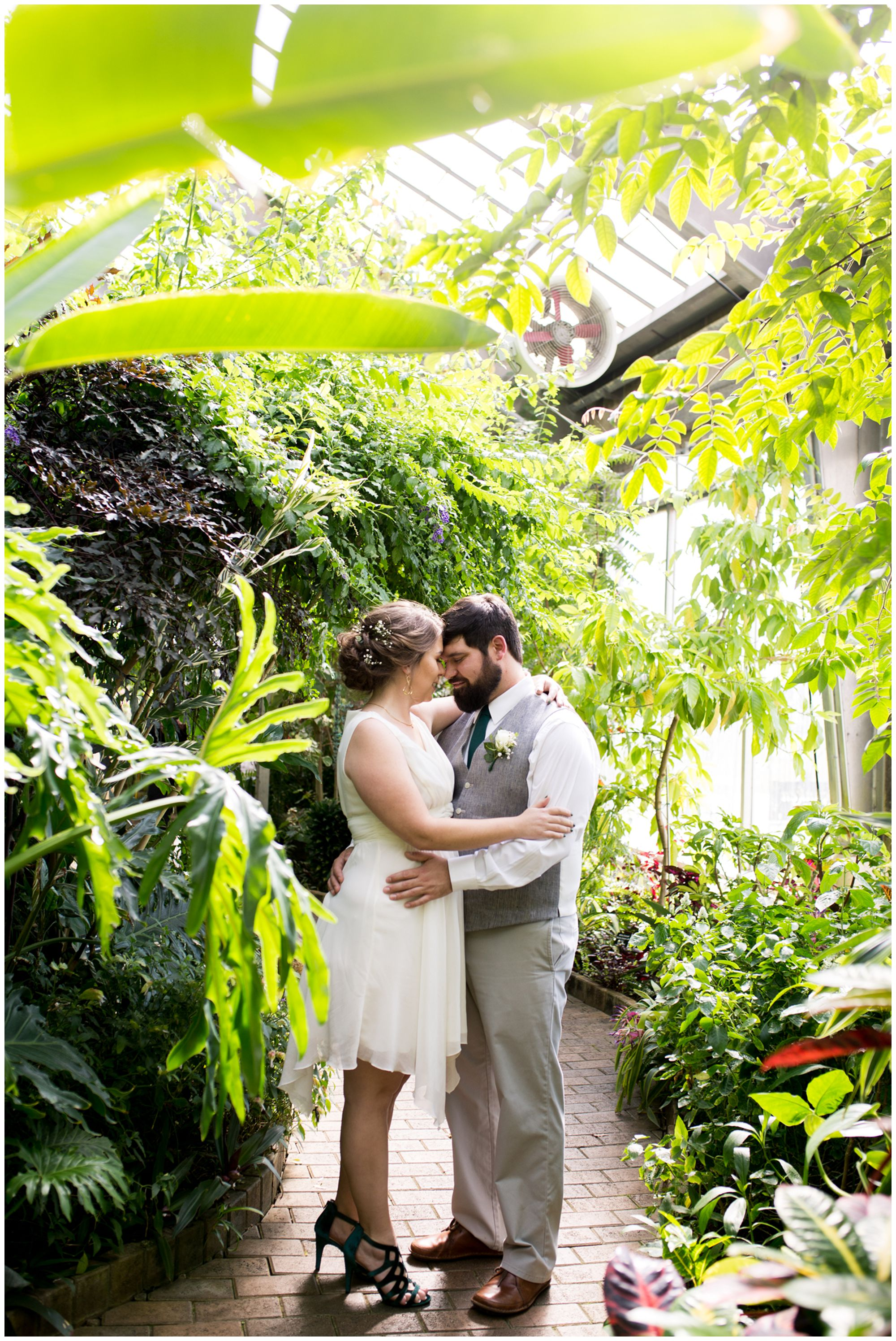bride and groom portraits in Garfield Park Conservatory Indianapolis