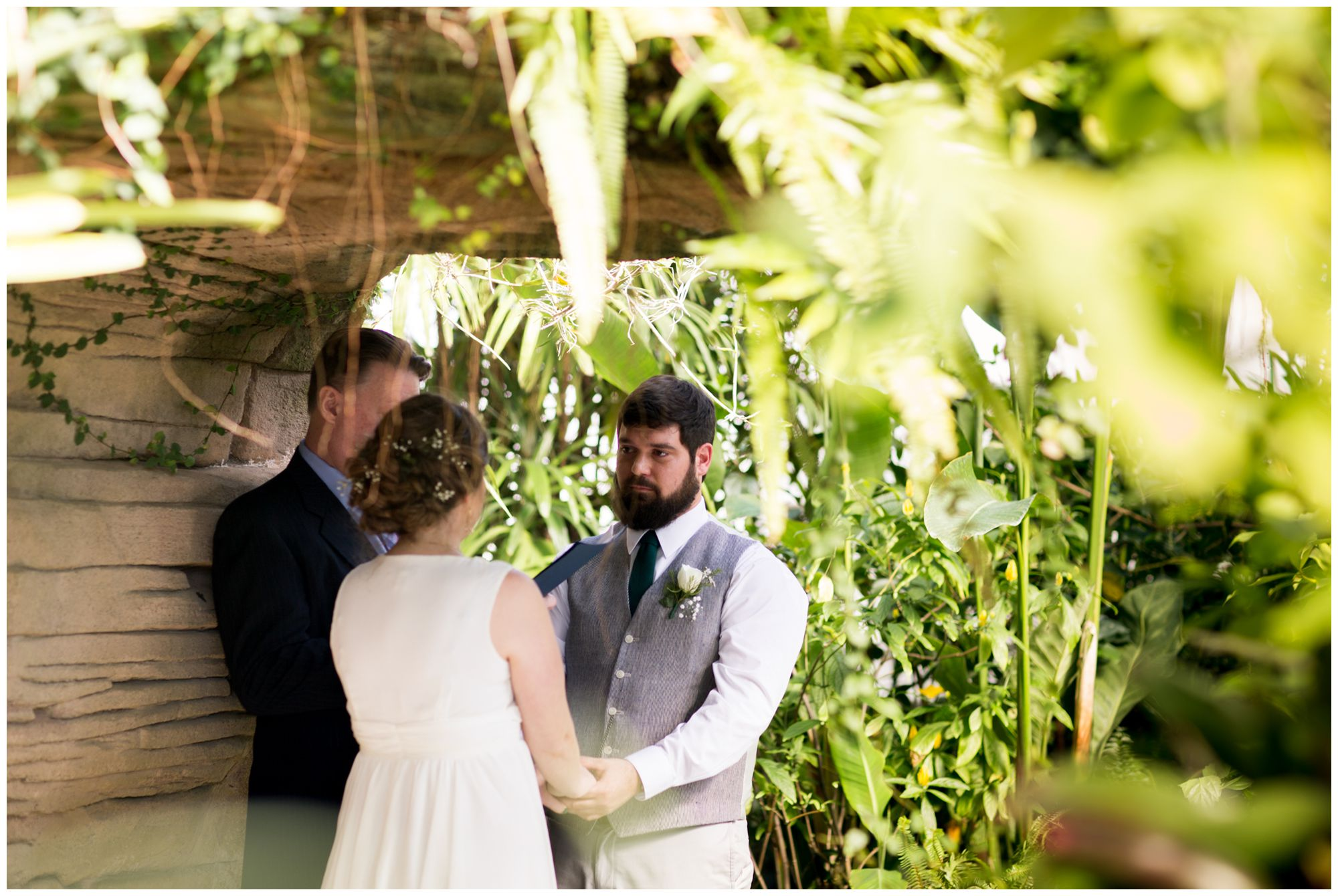 intimate wedding ceremony inside Garfield Park Conservatory in Indianapolis