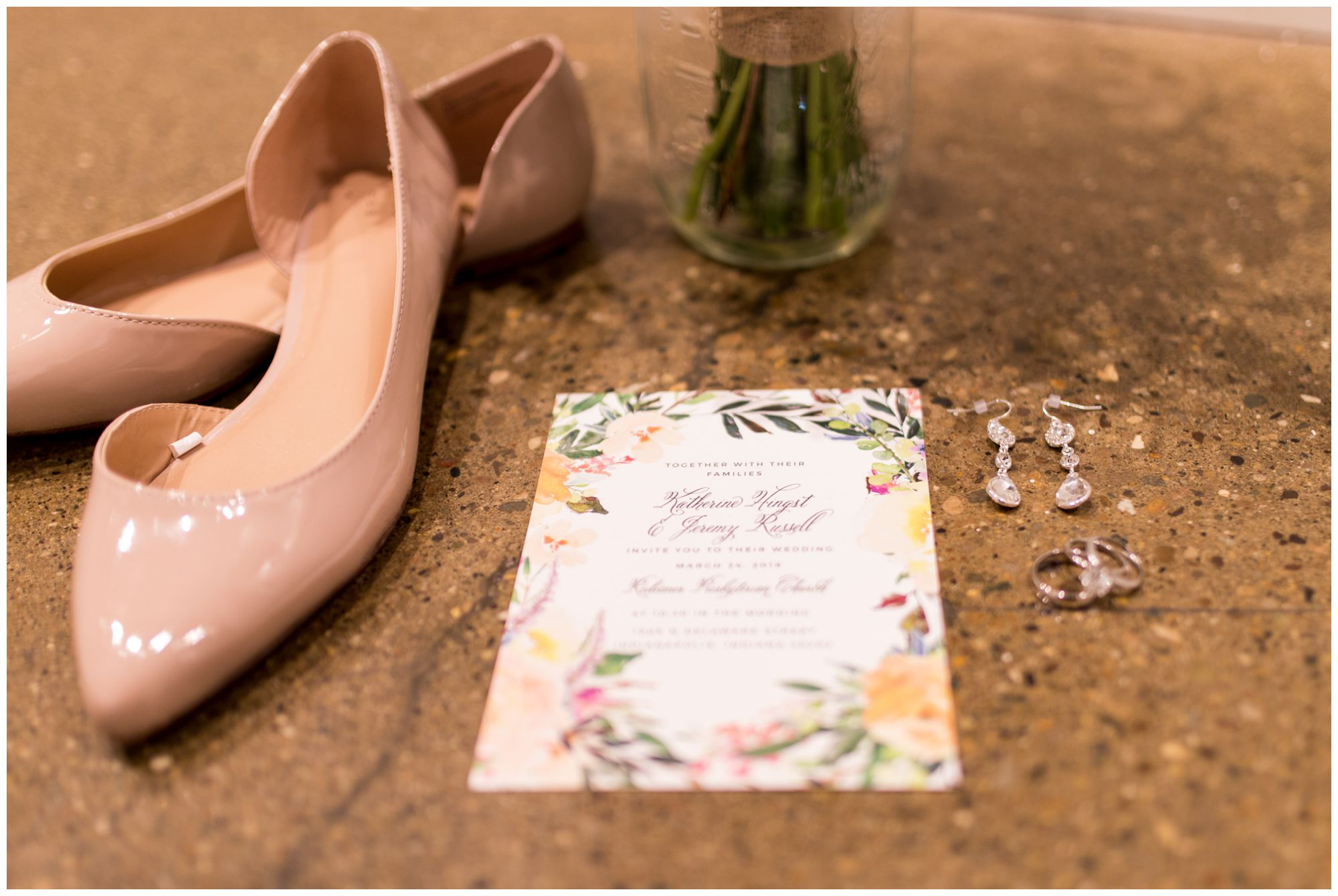 Indianapolis wedding bridal details at Redeemer Presbyterian Church
