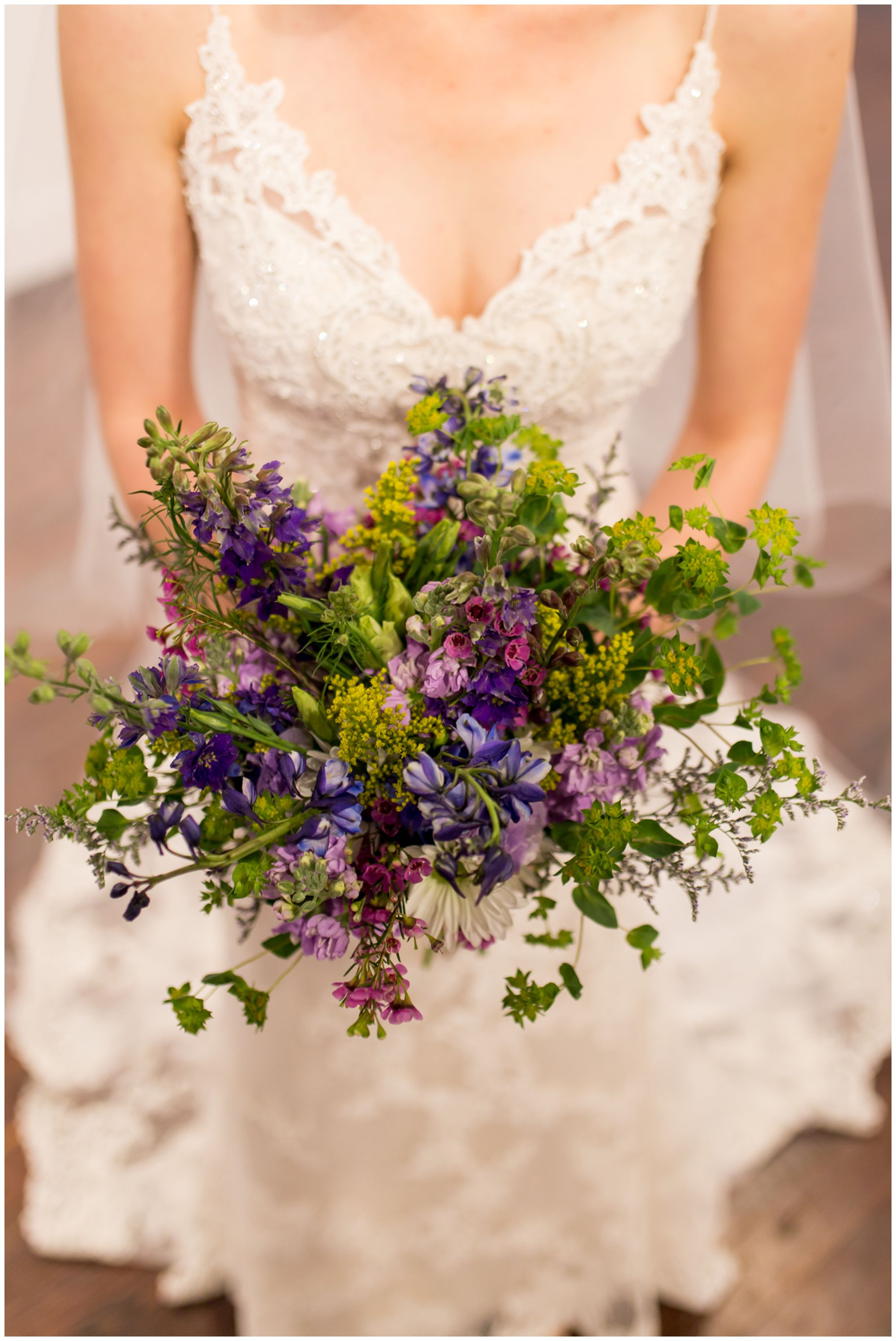 bride with wedding bouquet at Redeemer Presbyterian Church Indianapolis