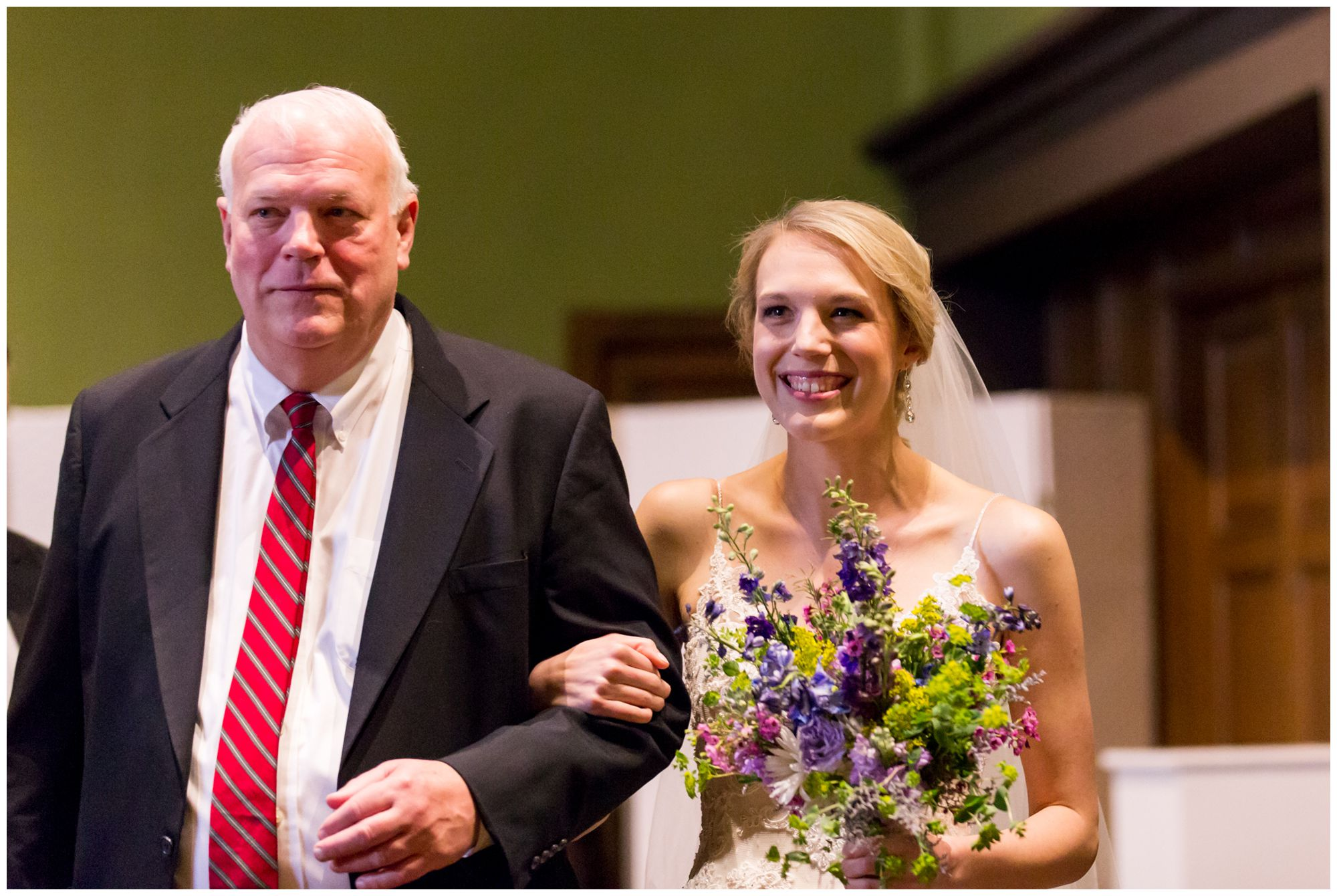 father walking bride down aisle at Redeemer Presbyterian Church Indianapolis