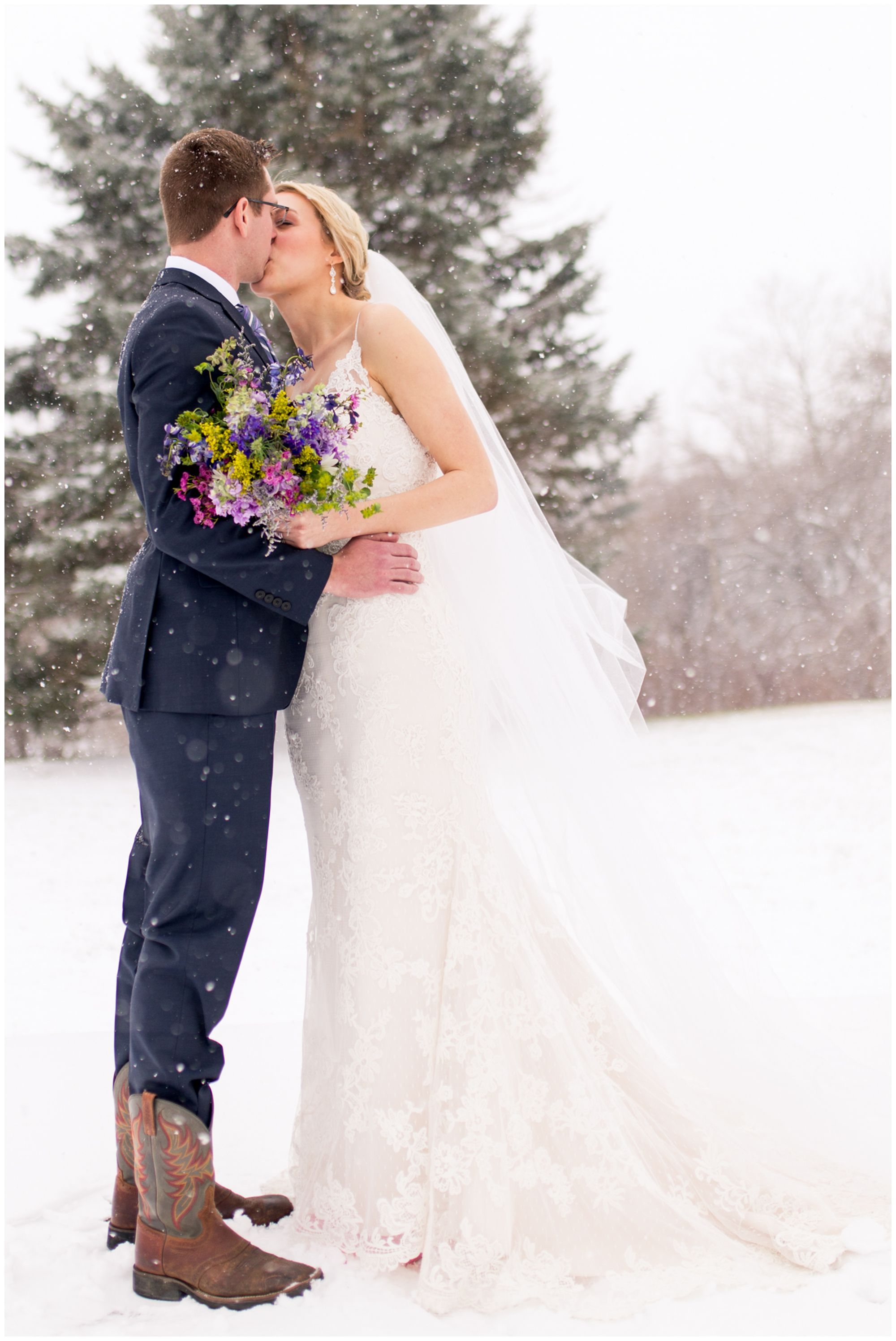 bride and groom snow wedding photos at Mustard Seed Gardens in Noblesville Indiana