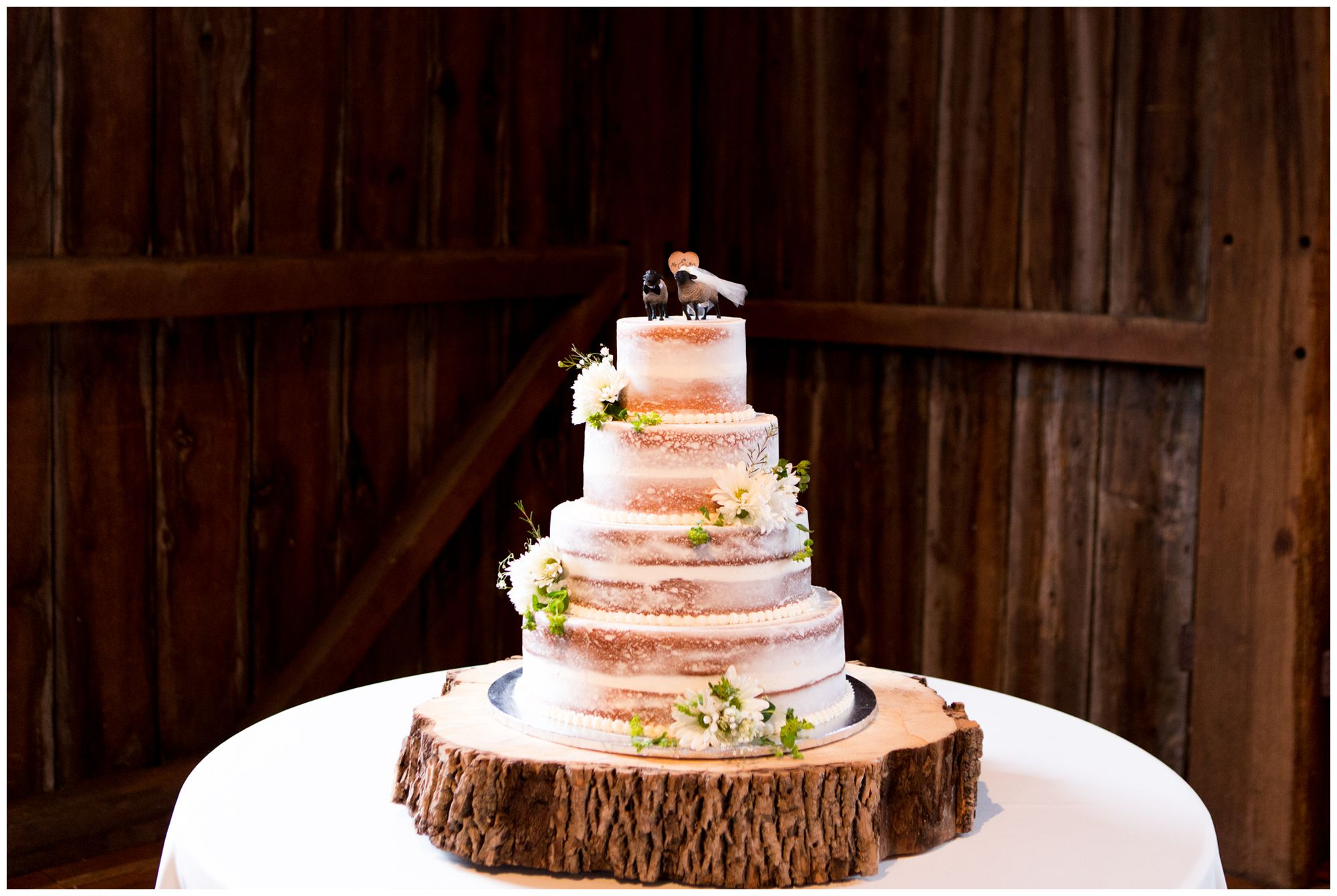 rustic naked cake at Mustard Seed Gardens wedding reception in Noblesville Indiana