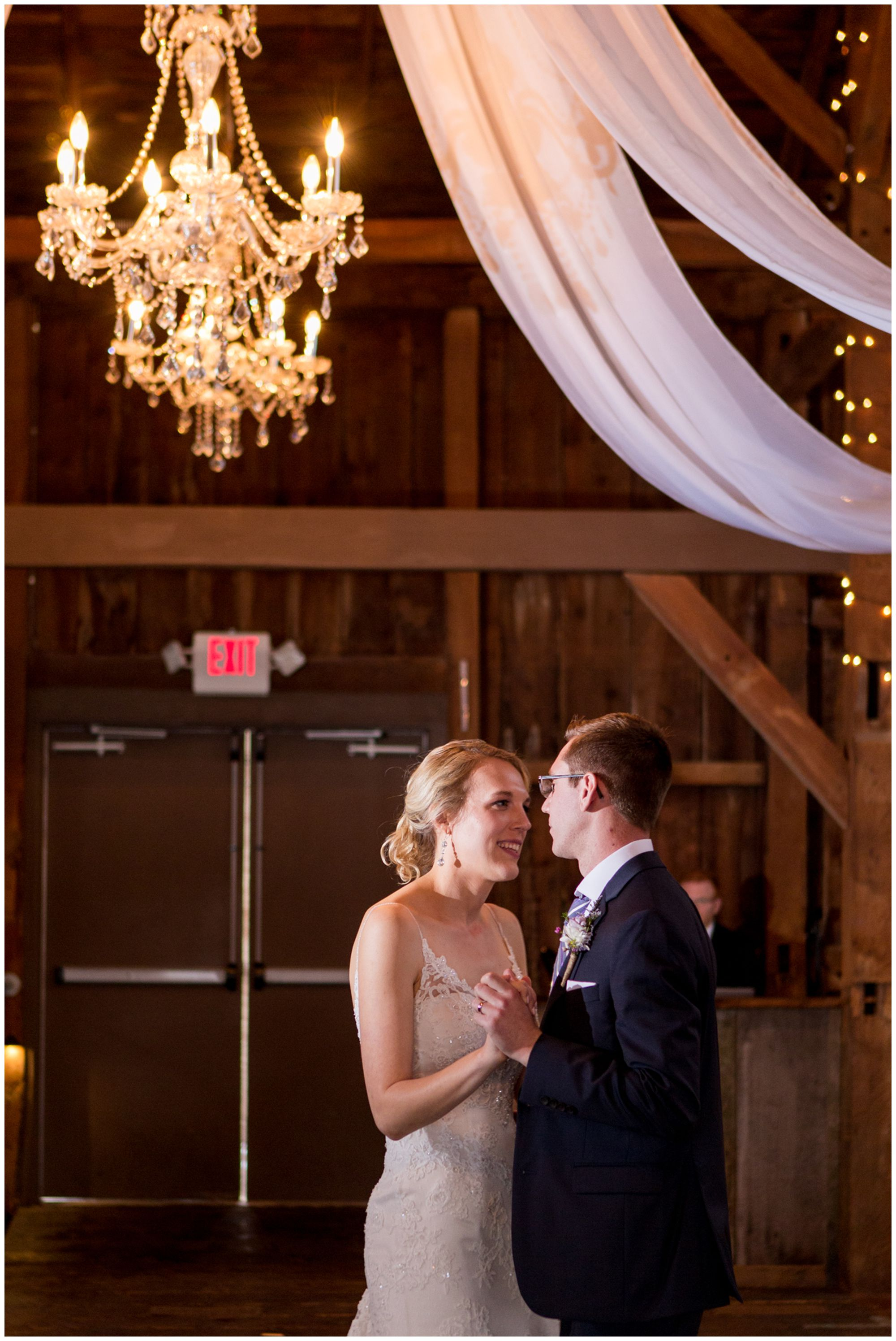 bride and groom first dance during wedding reception at Mustard Seed Gardens