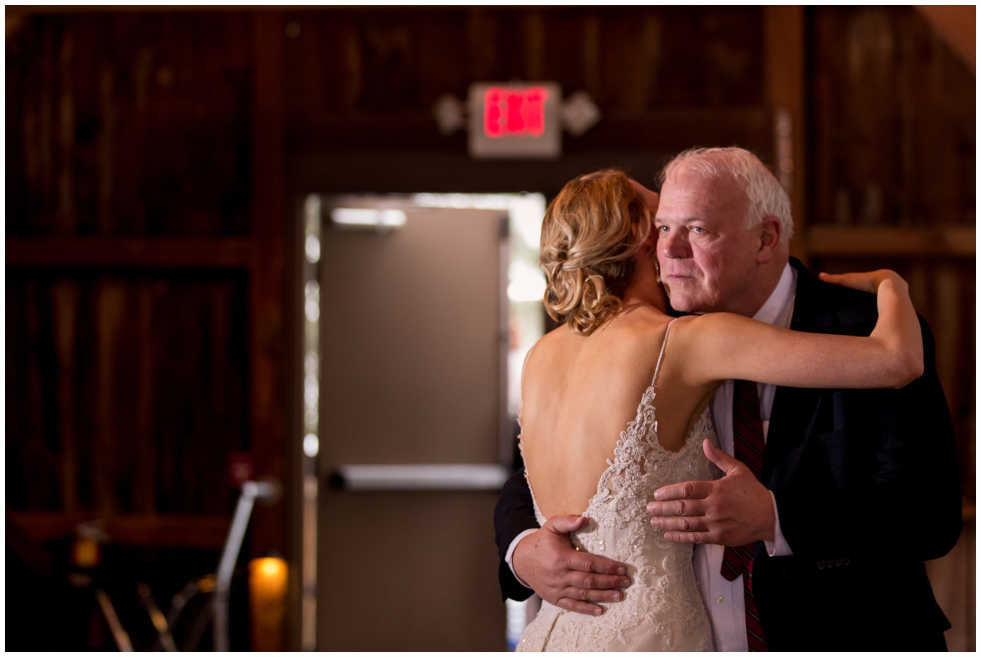 bride and father dance during wedding reception at Mustard Seed Gardens in Noblesville Indiana